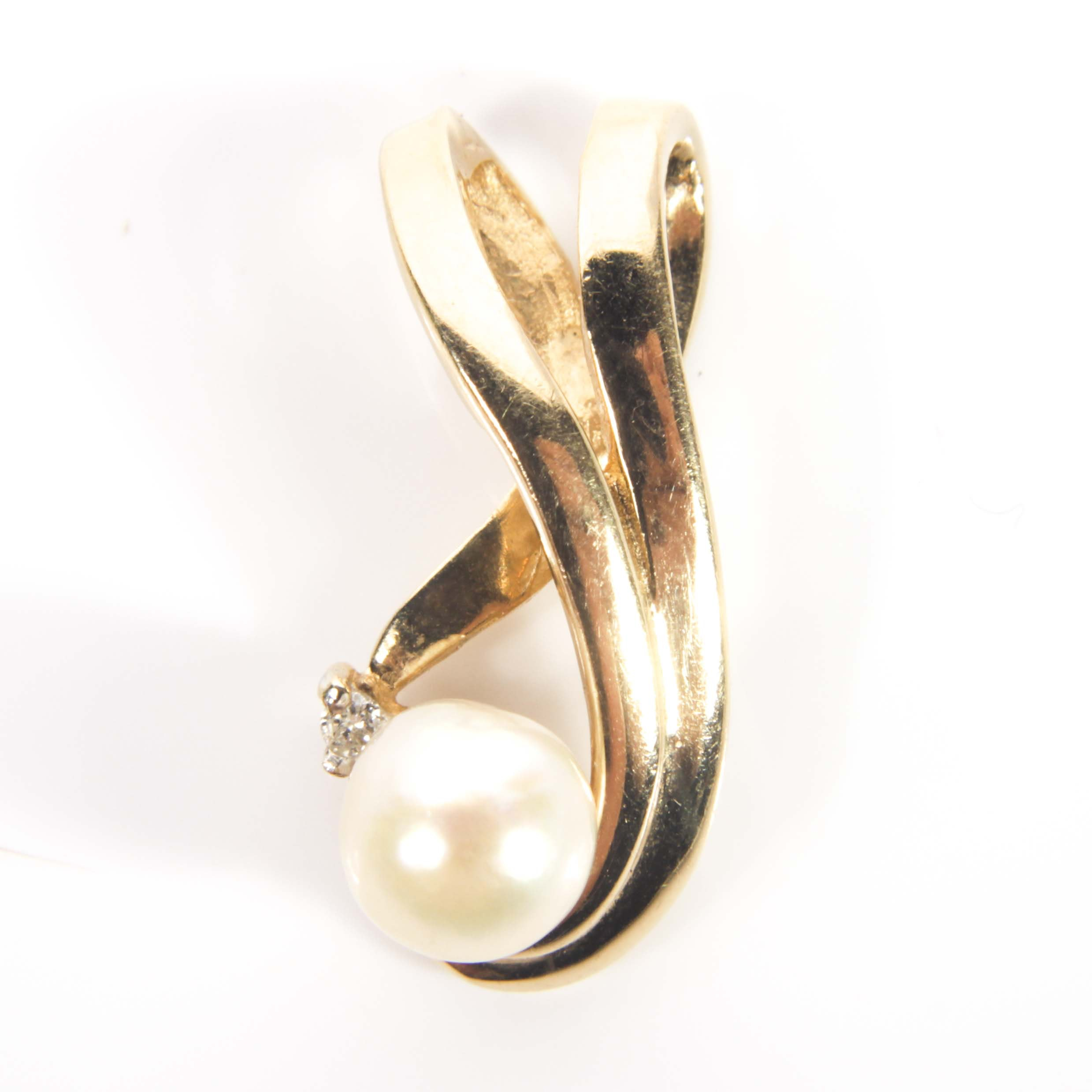 14K Yellow Gold, Cultured Pearl and Diamond Slide Pendant