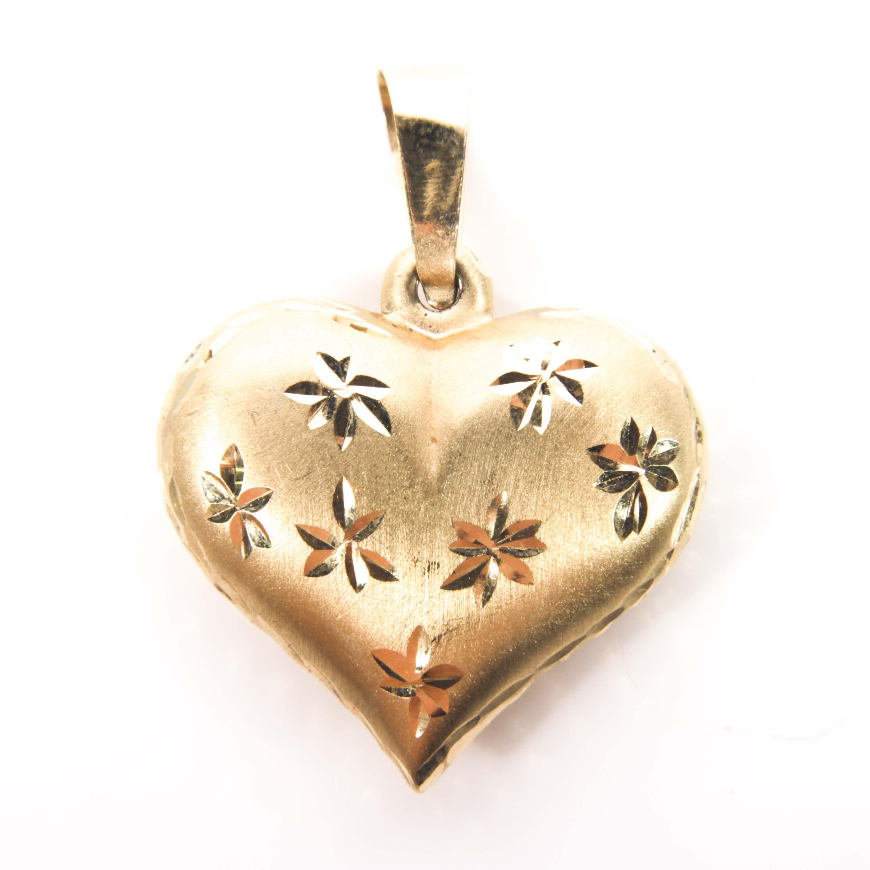 14K Yellow Gold Satin Finish Puffed Heart Pendant