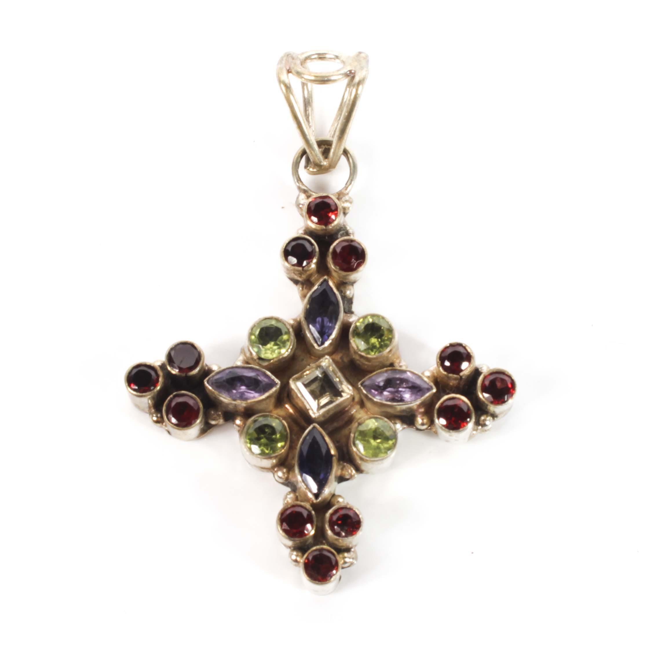 Sterling Silver and Multi-Gemstone Cross Pendant