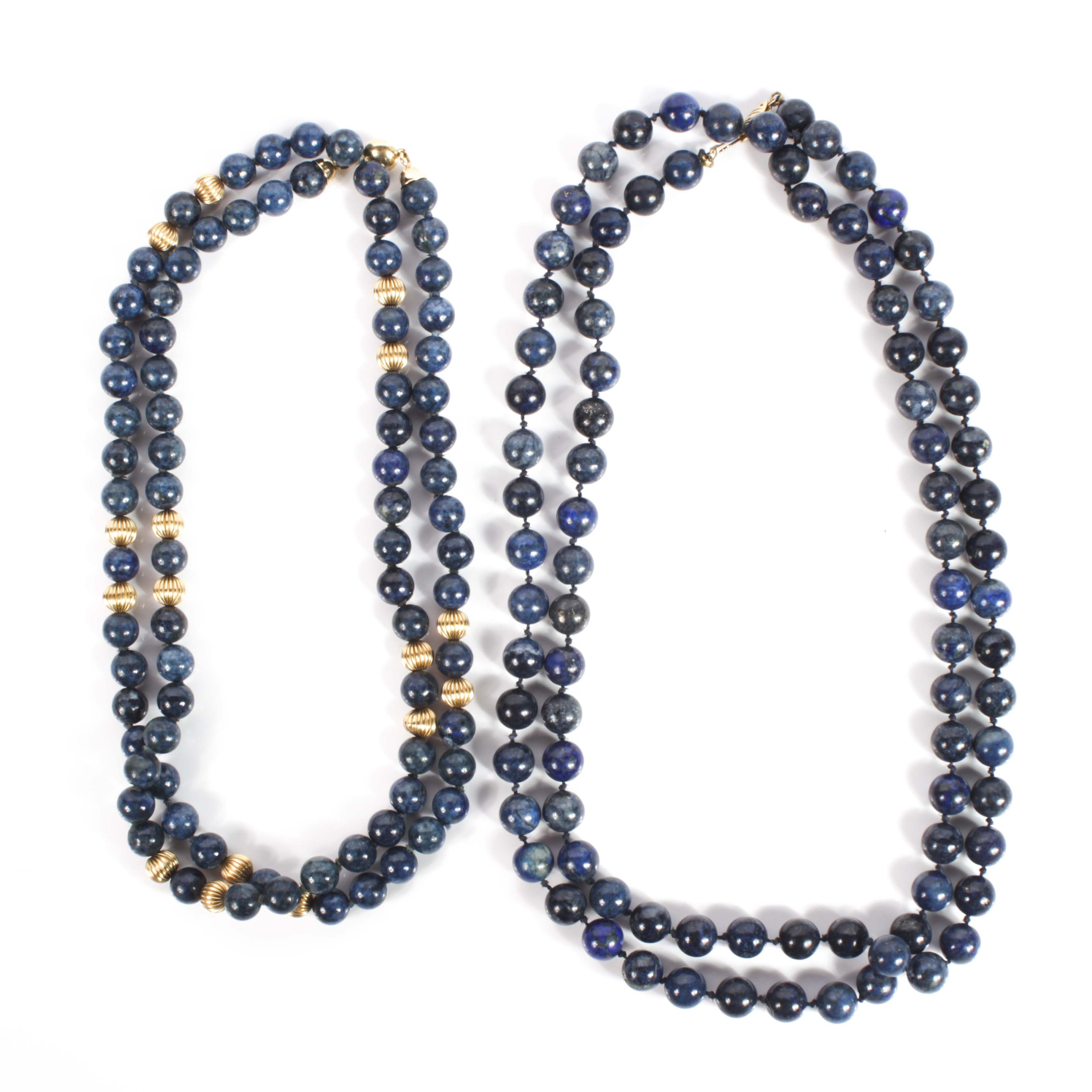 14K Yellow Gold and Lapis Lazuli Bead Strand Necklaces