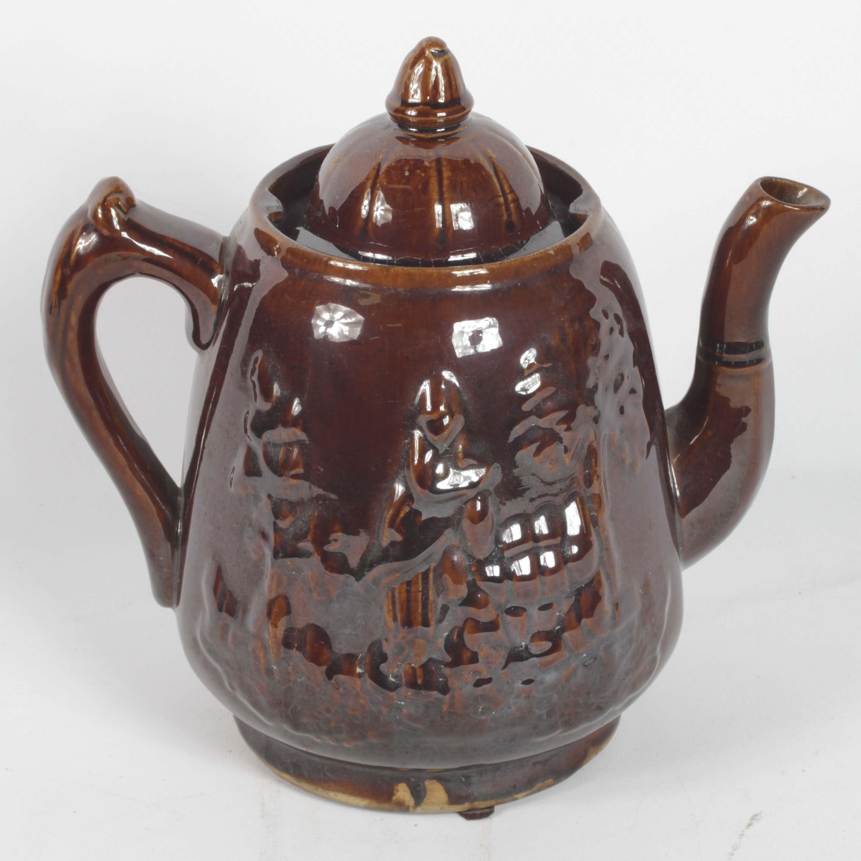 19th Century English Rockingham Earthenware Coffee Pot
