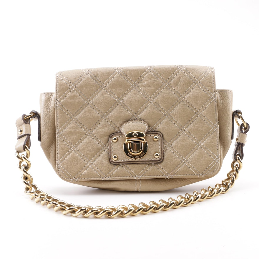 Marc Jacobs Beige Quilted Leather Handbag