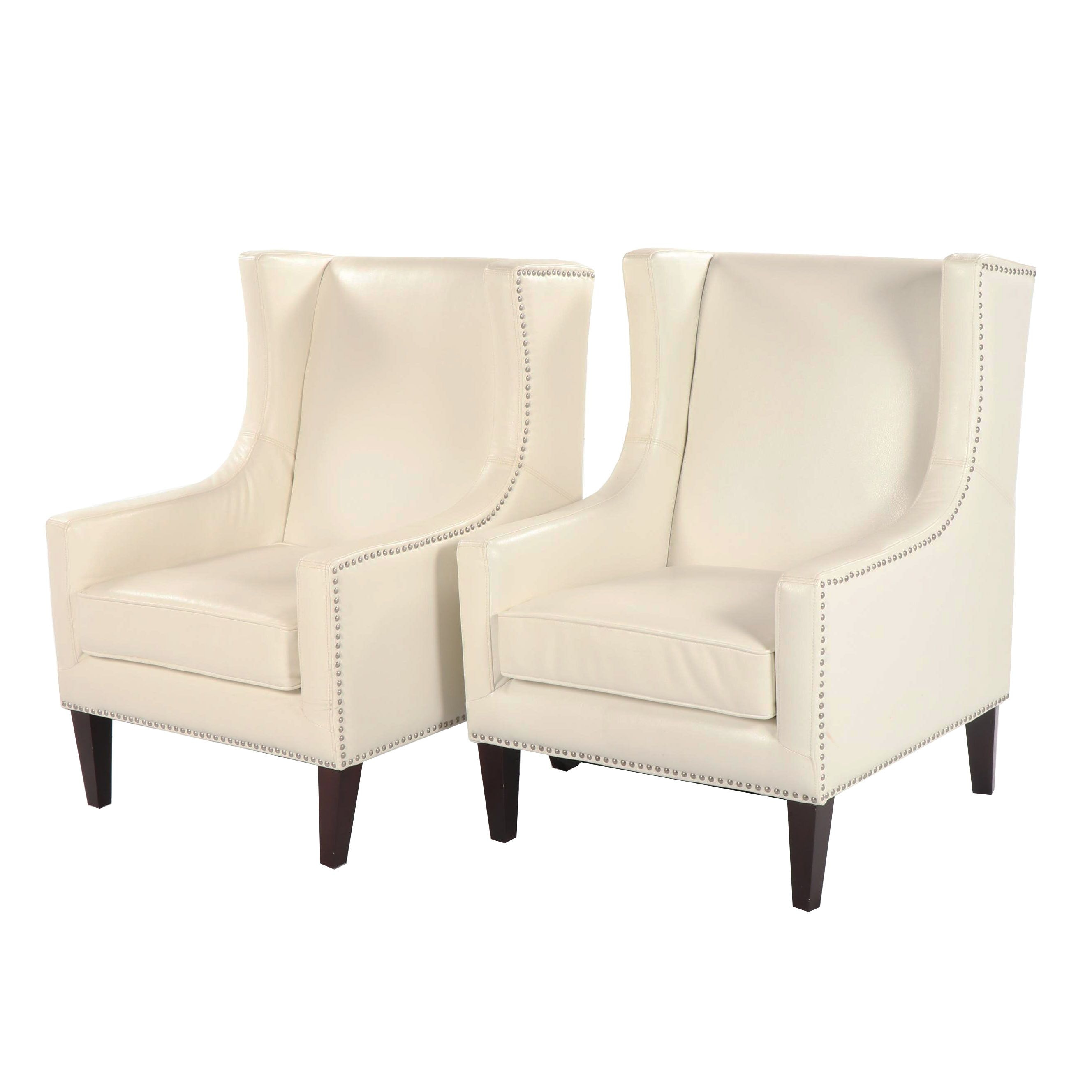 Faux Leather Upholstered Wingback Chairs by Haining Shuyou, 21st Century