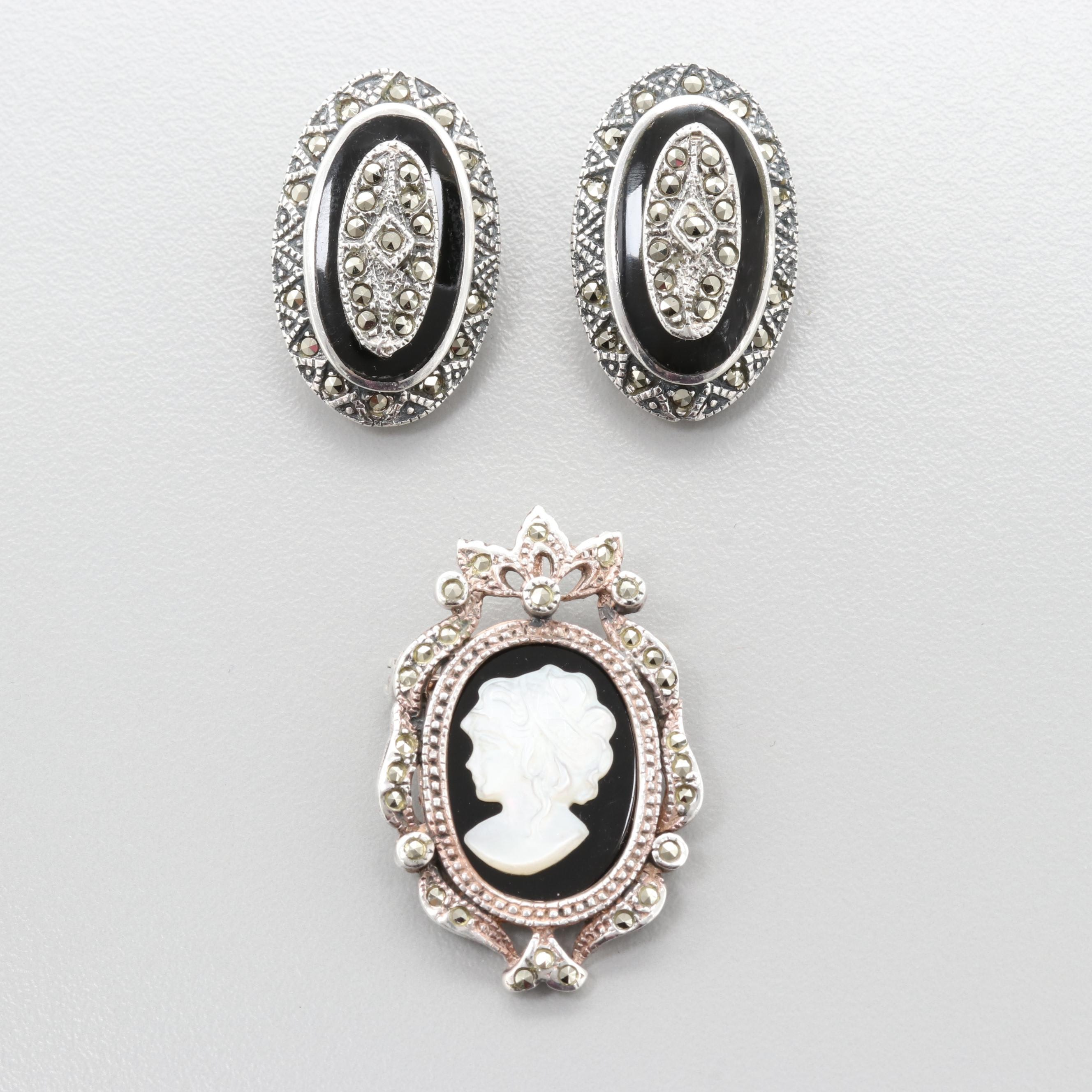 Sterling Silver Mother of Pearl, Marcasite and Black Onyx Brooch & Earrings