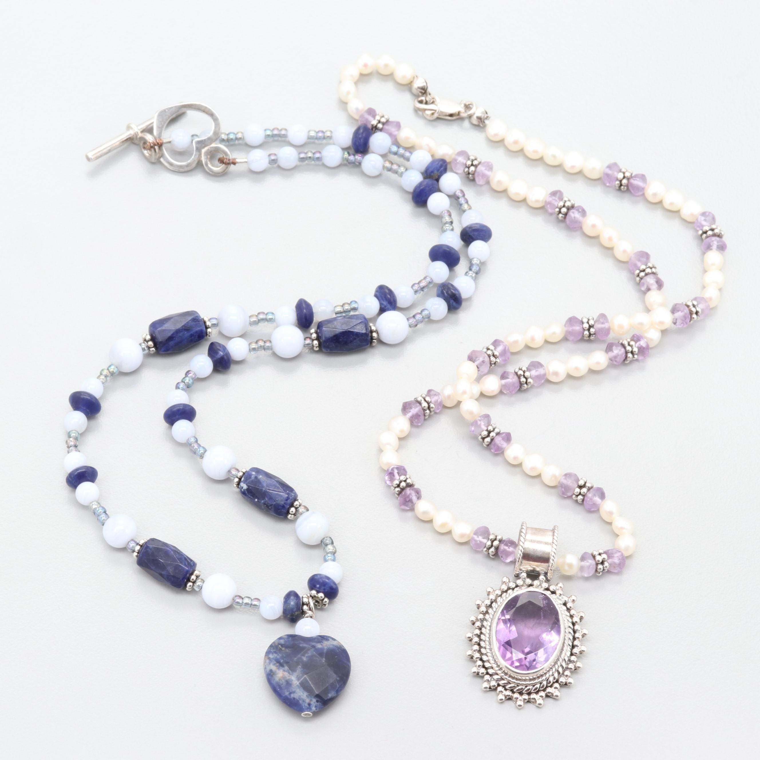 Sterling Silver Amethyst, Cultured Pearl, and Lace Agate Bead Necklaces
