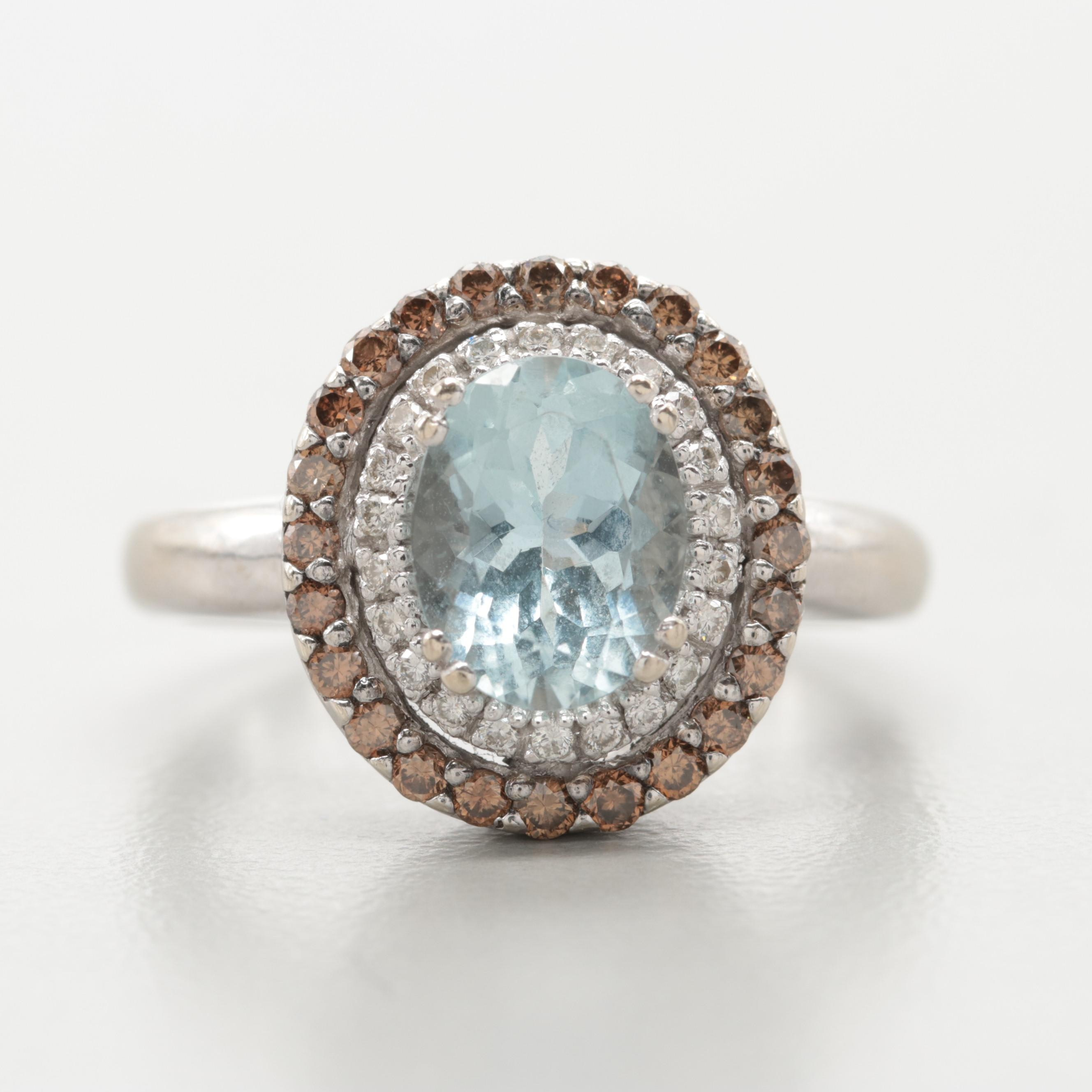 Le Vian 14K White Gold Aquamarine and Diamond Ring
