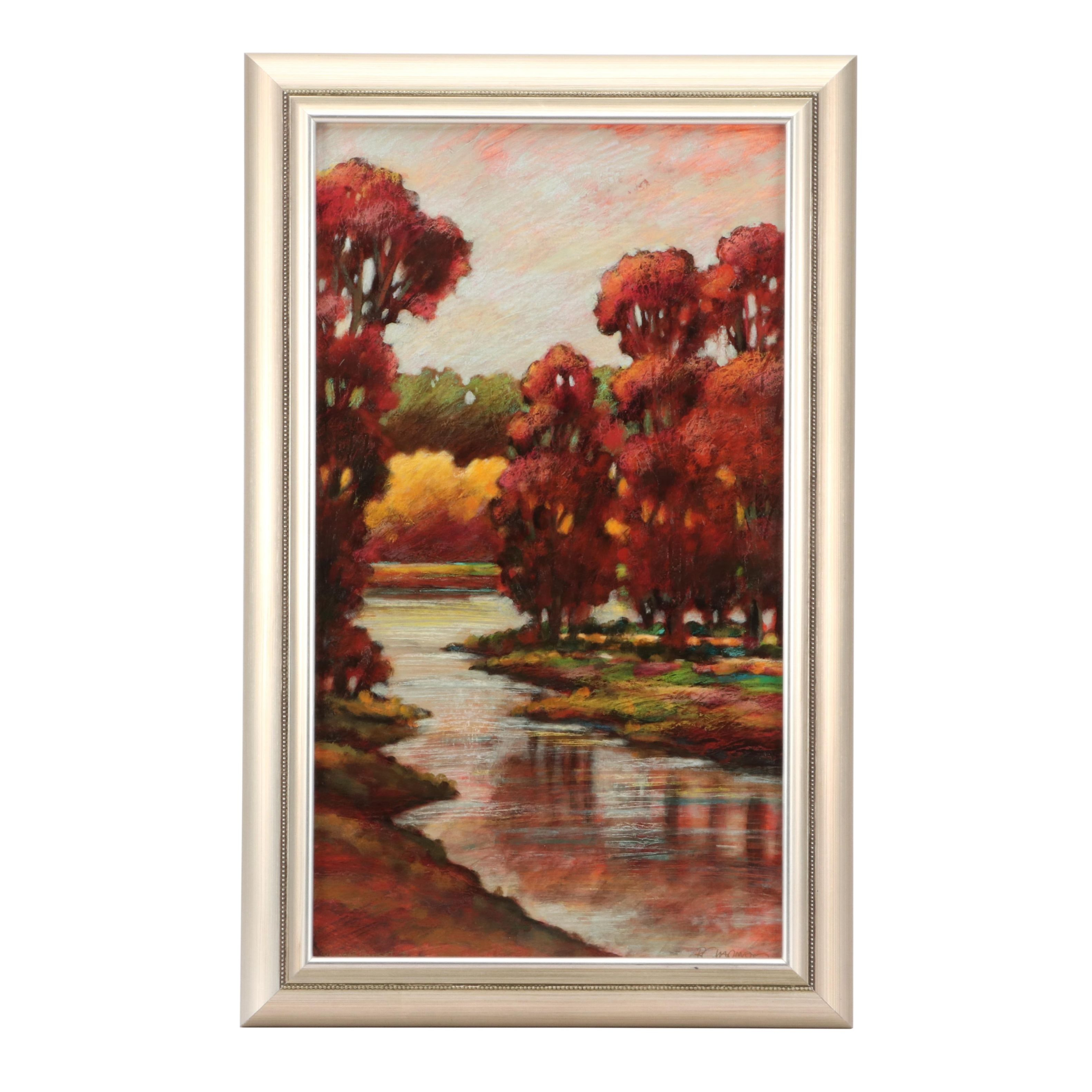 R. Chapman Acrylic Painting of Autumn Landscape