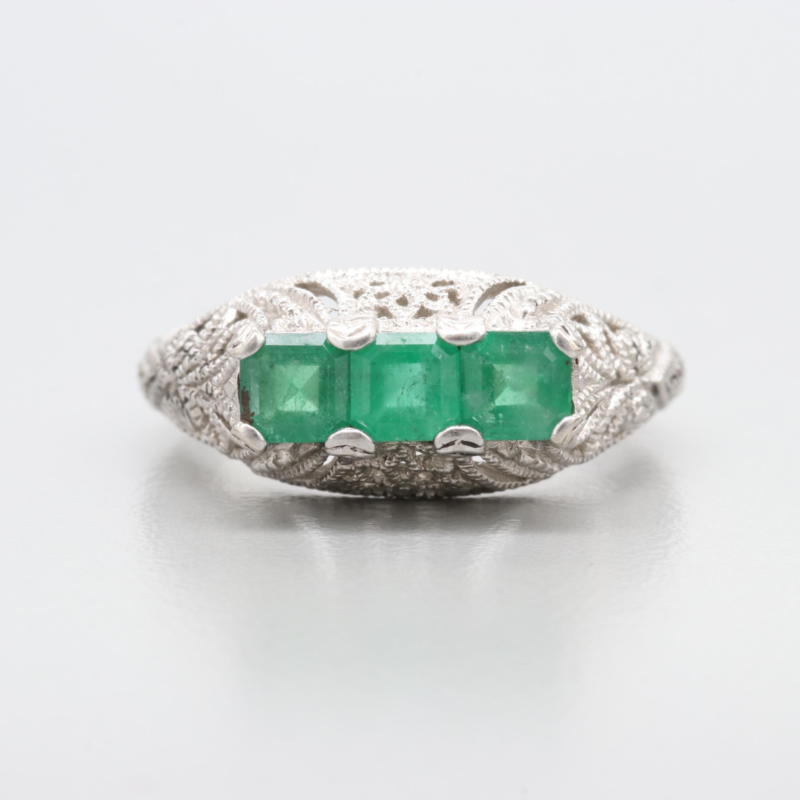 Art Deco Inspired 14K White Gold Emerald Ring