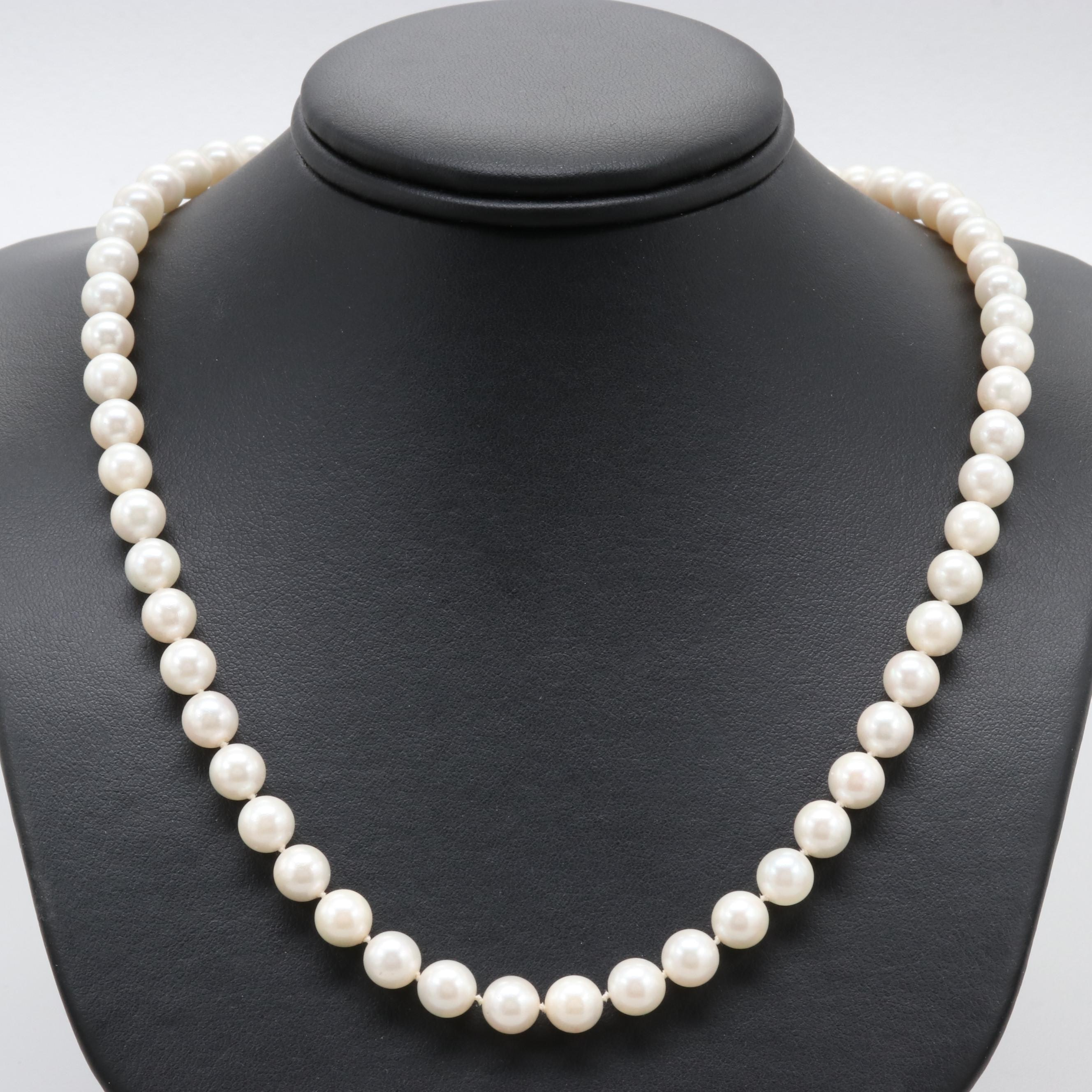 14K Yellow Gold Cultured Pearl Strand Necklace