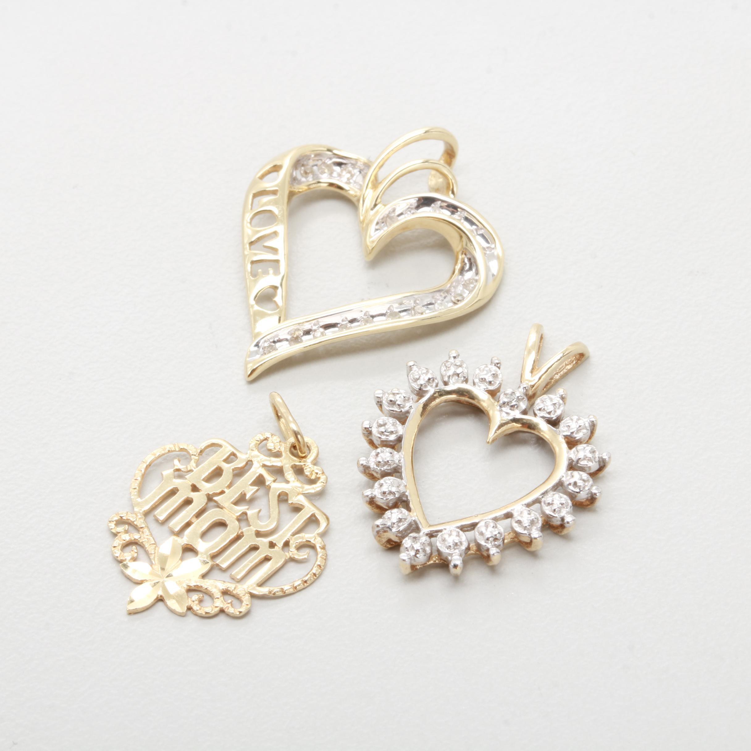 10K & 14K Yellow Gold Diamond Pendant