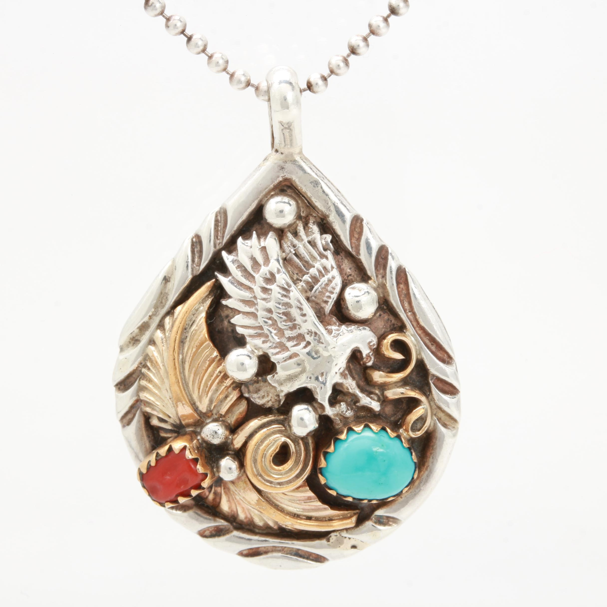 Benjamin Piaso Navajo Diné Sterling Silver Coral and Turquoise Pendent On Chain