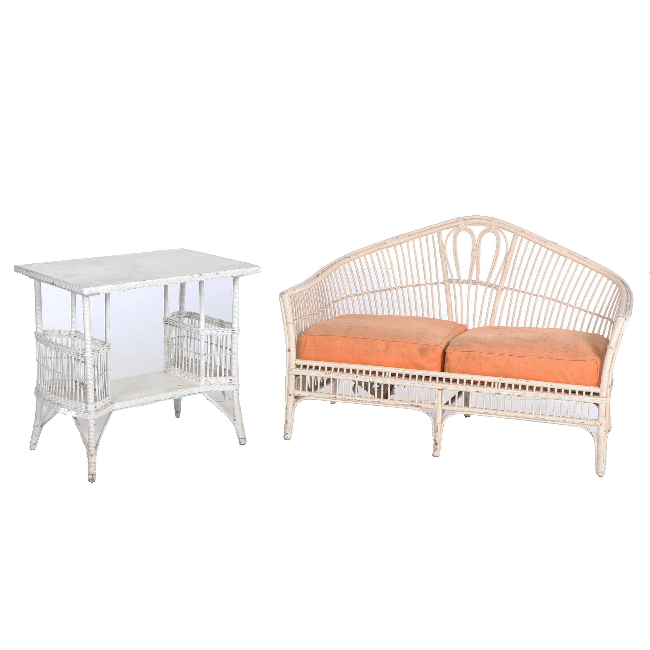 Painted Rattan Patio Sofa and Side Table, Mid-20th Century