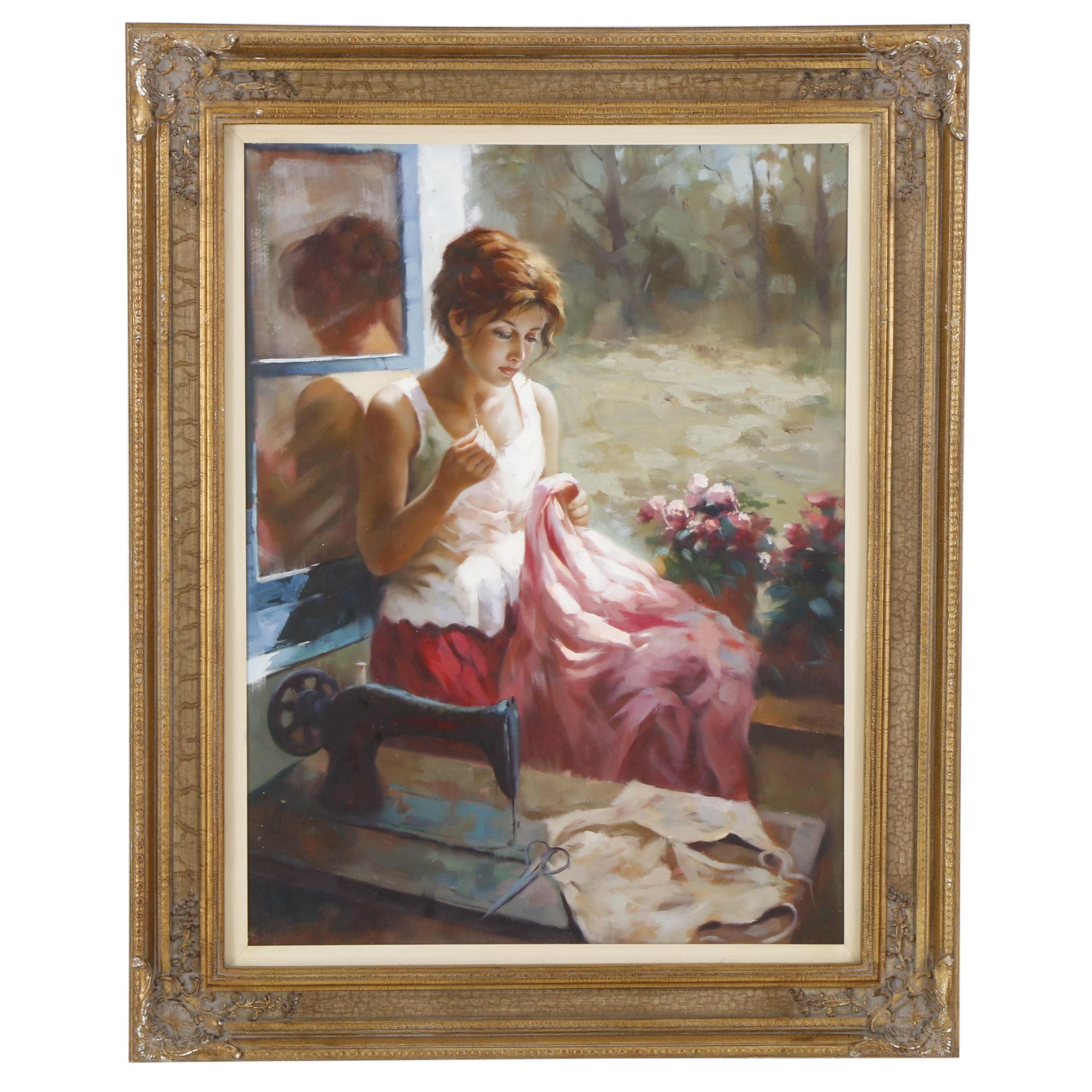 Oil Painting of Woman Seated in Window Sewing