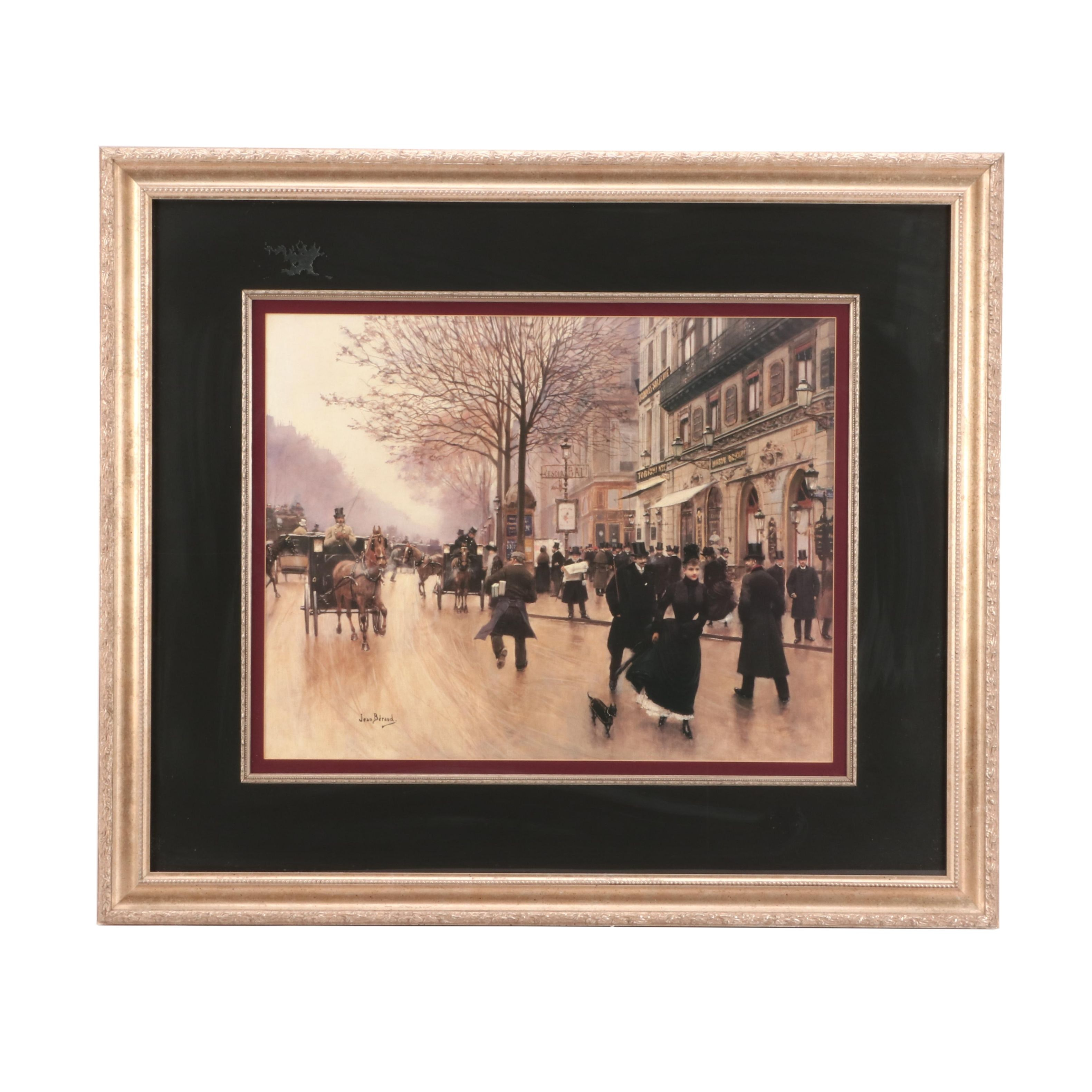 "Offset Lithograph after Jean Béraud ""The Boulevard at the Cafe Tortoni"""