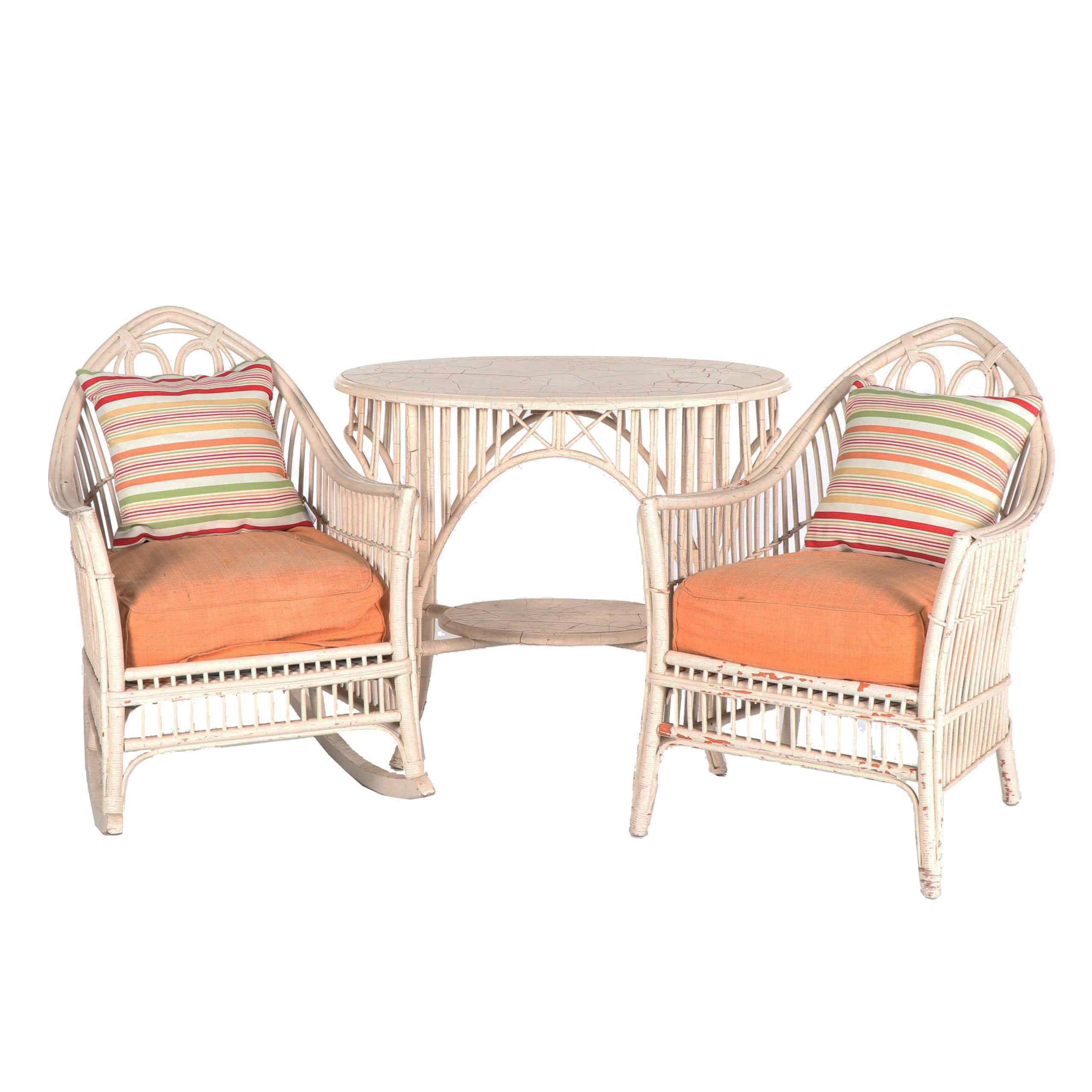 Art Nouveau Style Rattan Armchairs and Table Set, 20th Century