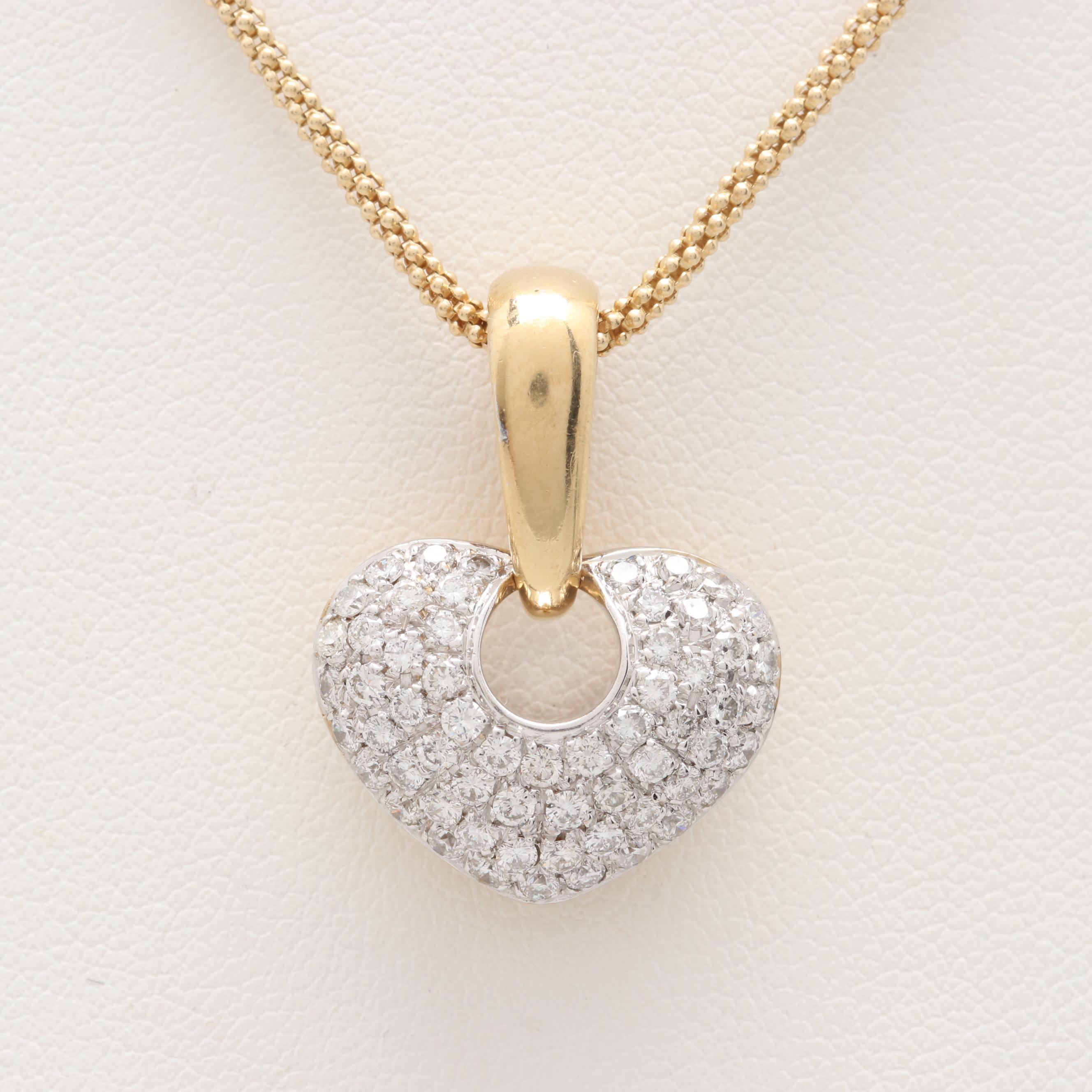 14K and 18K Yellow Gold Diamond Enhancer Pendant Necklace