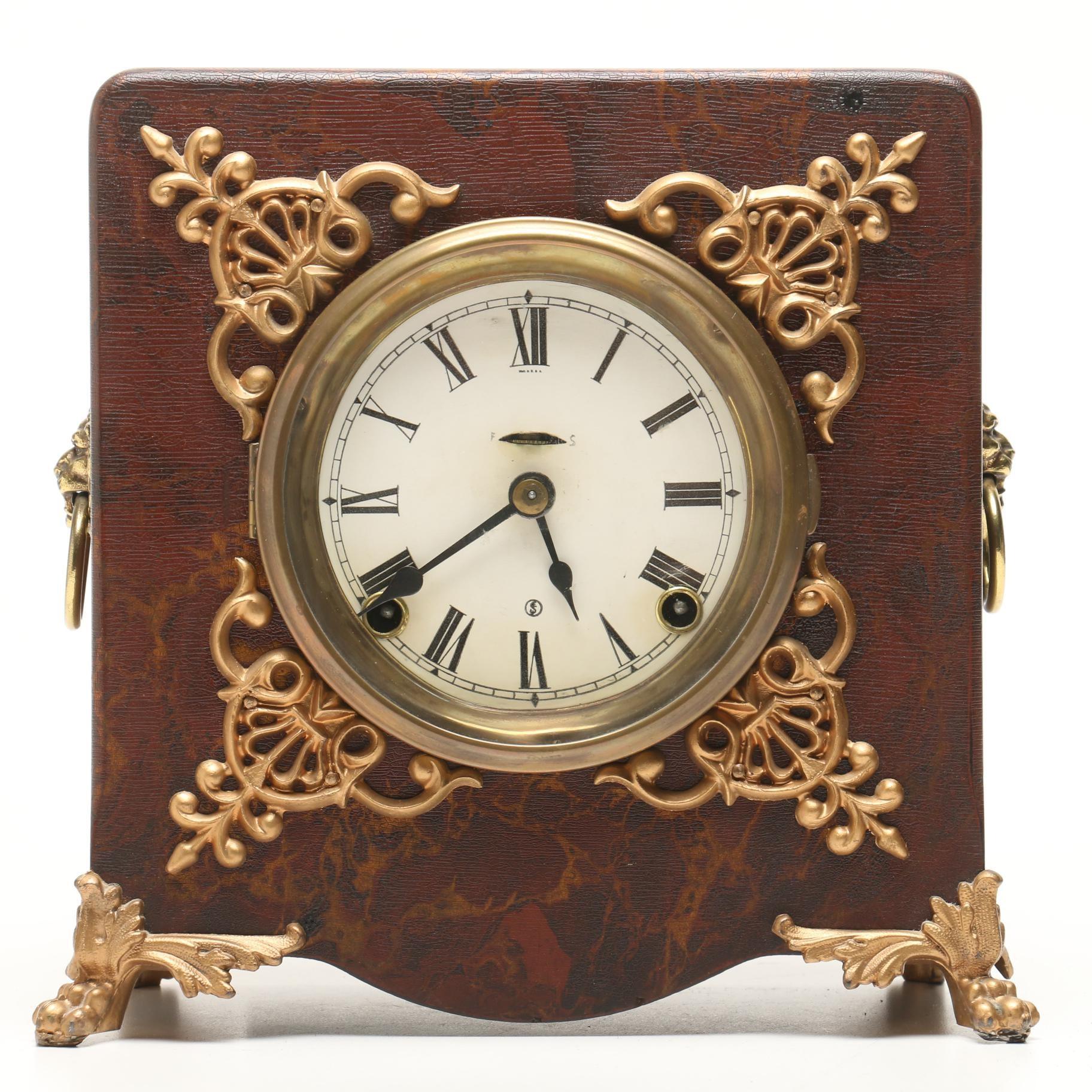 Ingraham Brass Mounted Mantel Clock with Lion Head Ring Handles