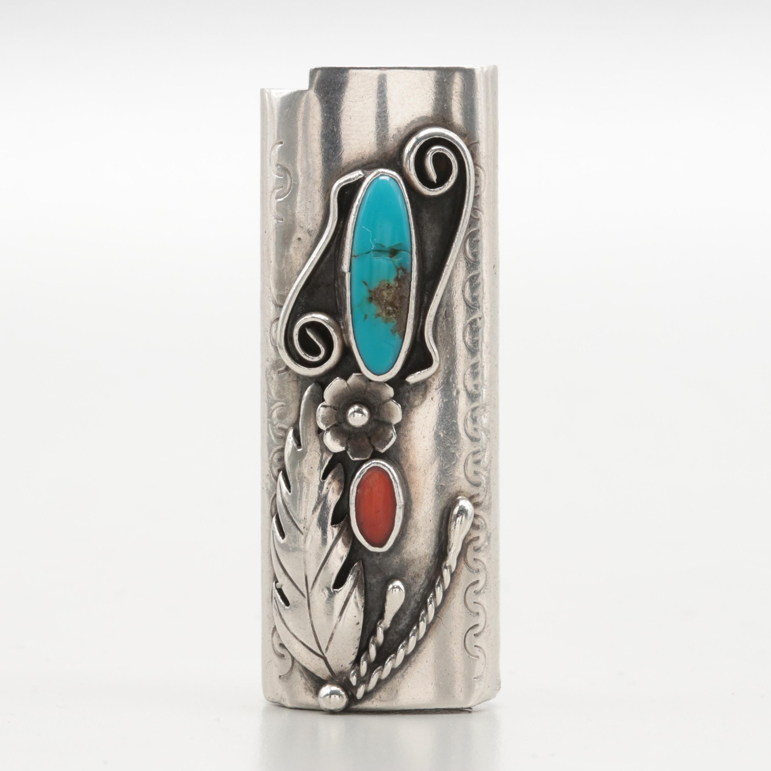 1970s Sterling Silver Lighter Sleeve with Set Turquoise, Coral and Applique Work