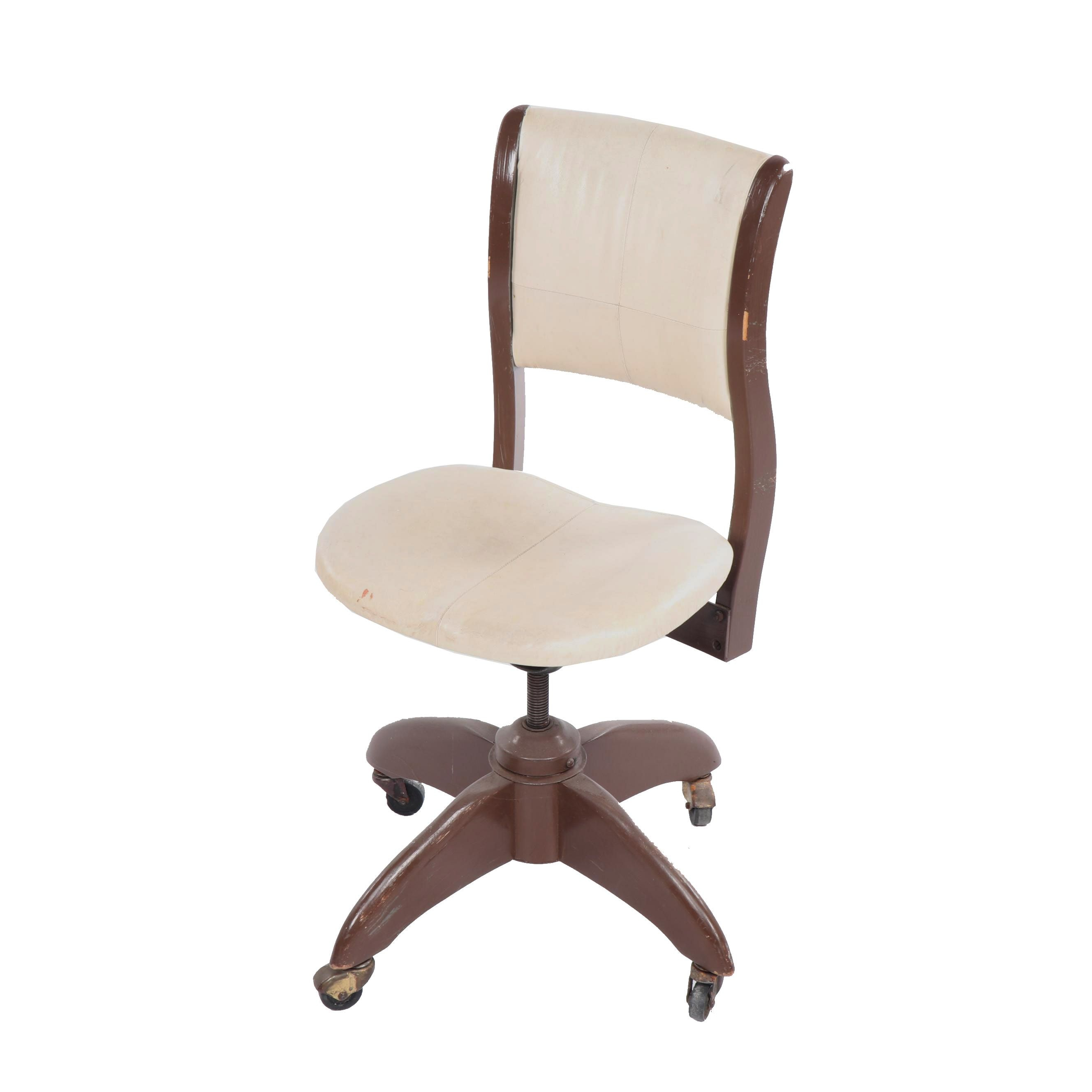 Leather Upholstered Painted Wood Secretary Chair, Mid-20th Century