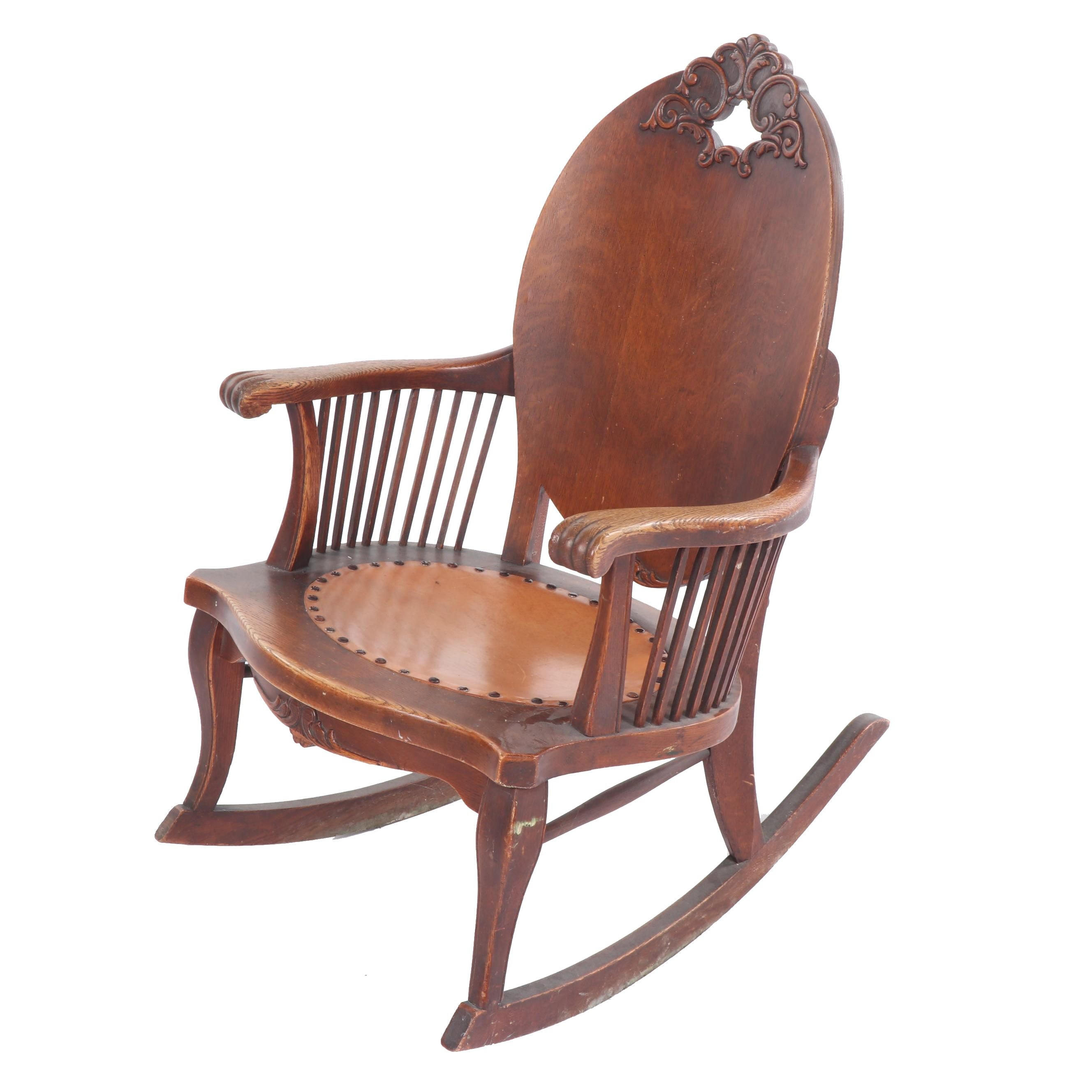 American Oak Rocking Chair, Early 20th Century