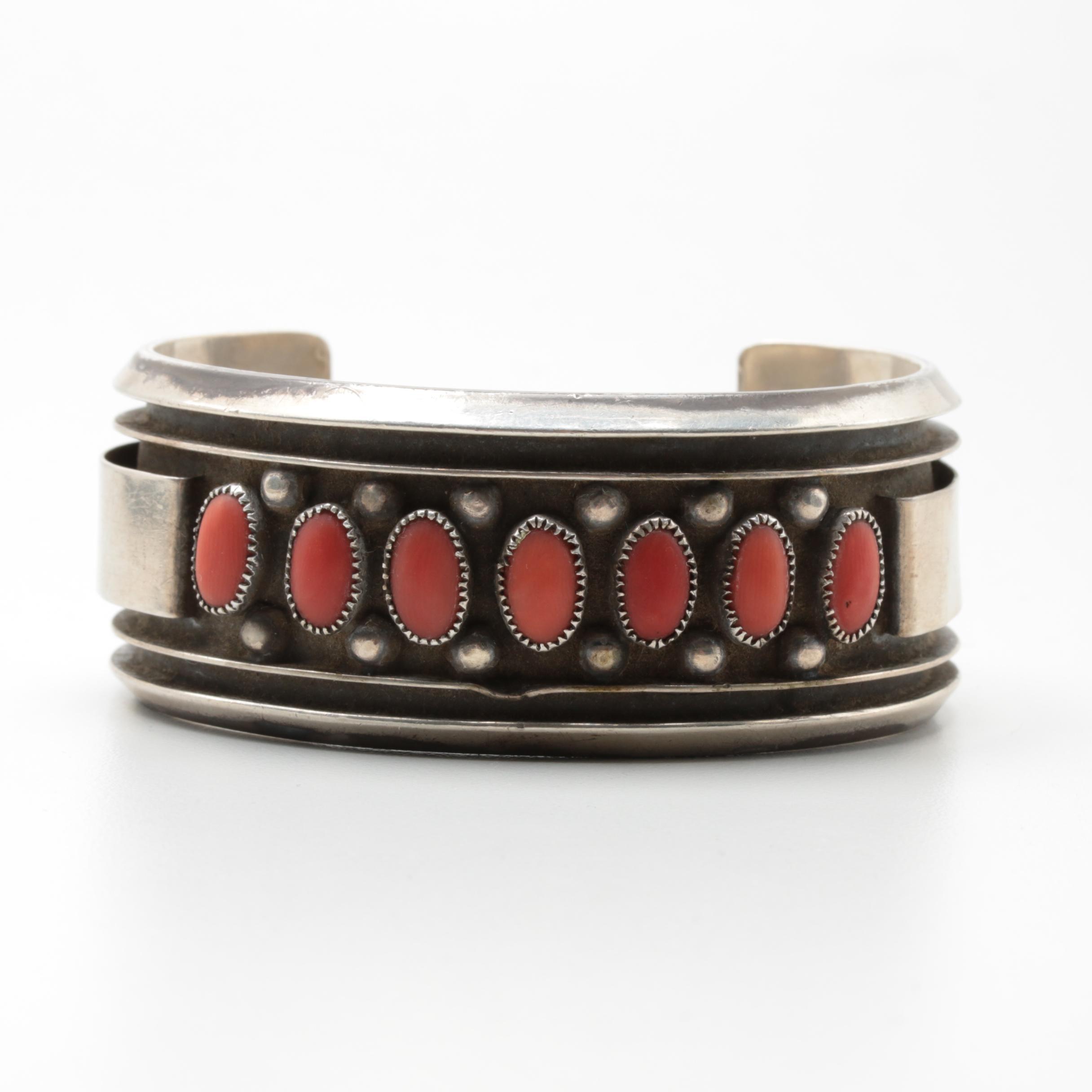 Vintage 1970s Jackie Singer Navajo Diné Sterling Silver Coral Bracelet