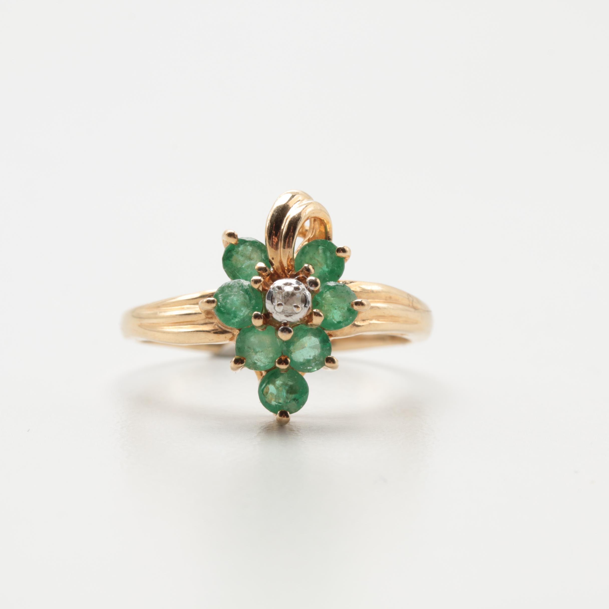 10K Yellow Gold Emerald and Diamond Ring