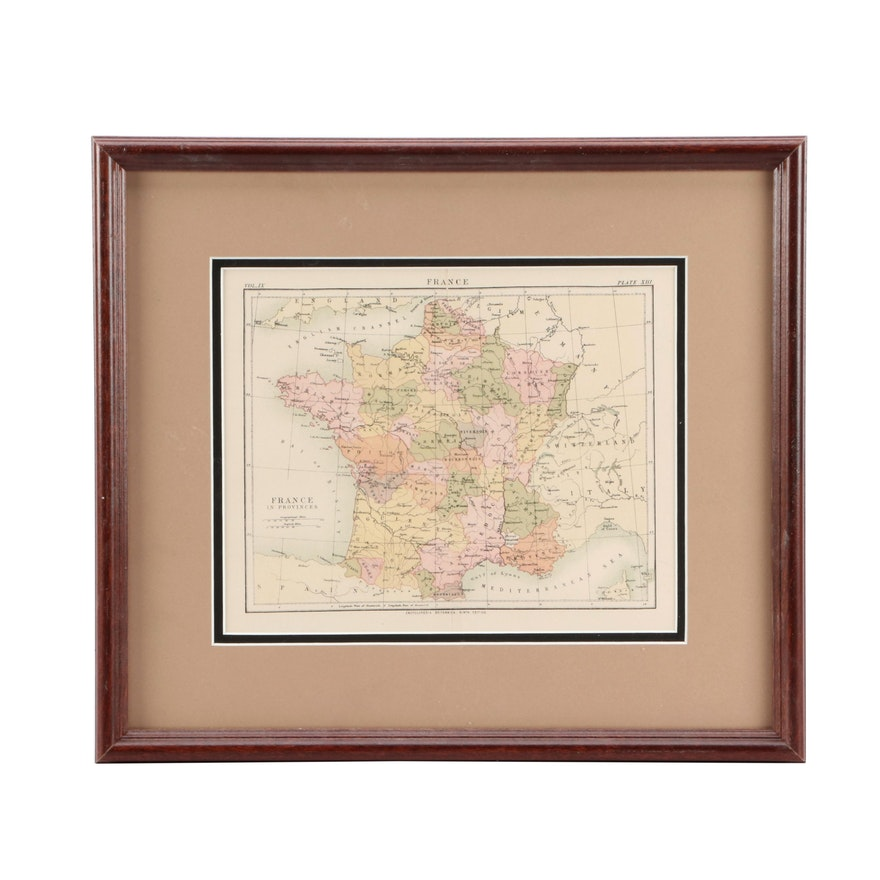 Map Of France Provinces.Antique Map Of France In Provinces Ebth