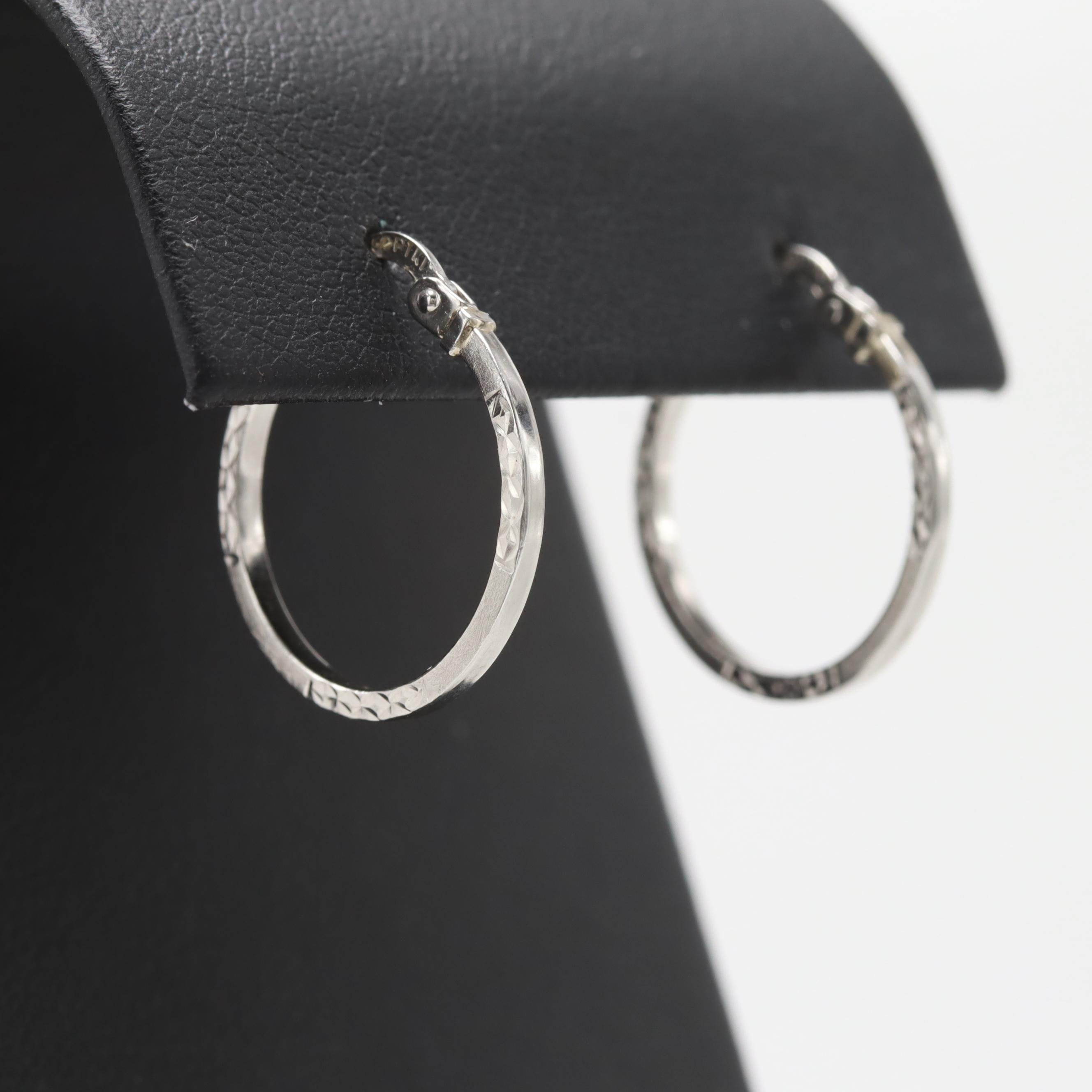 Platinum Hoop Earrings with Textured Accents