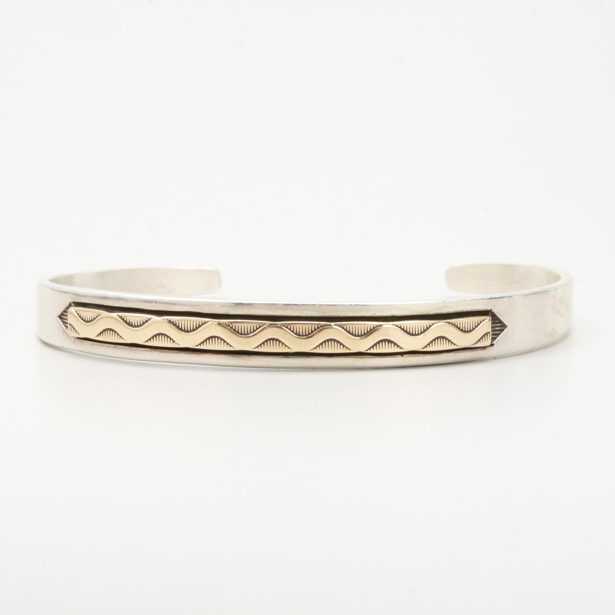 Sterling Silver Cuff Bracelet with 14K Yellow Gold Accent