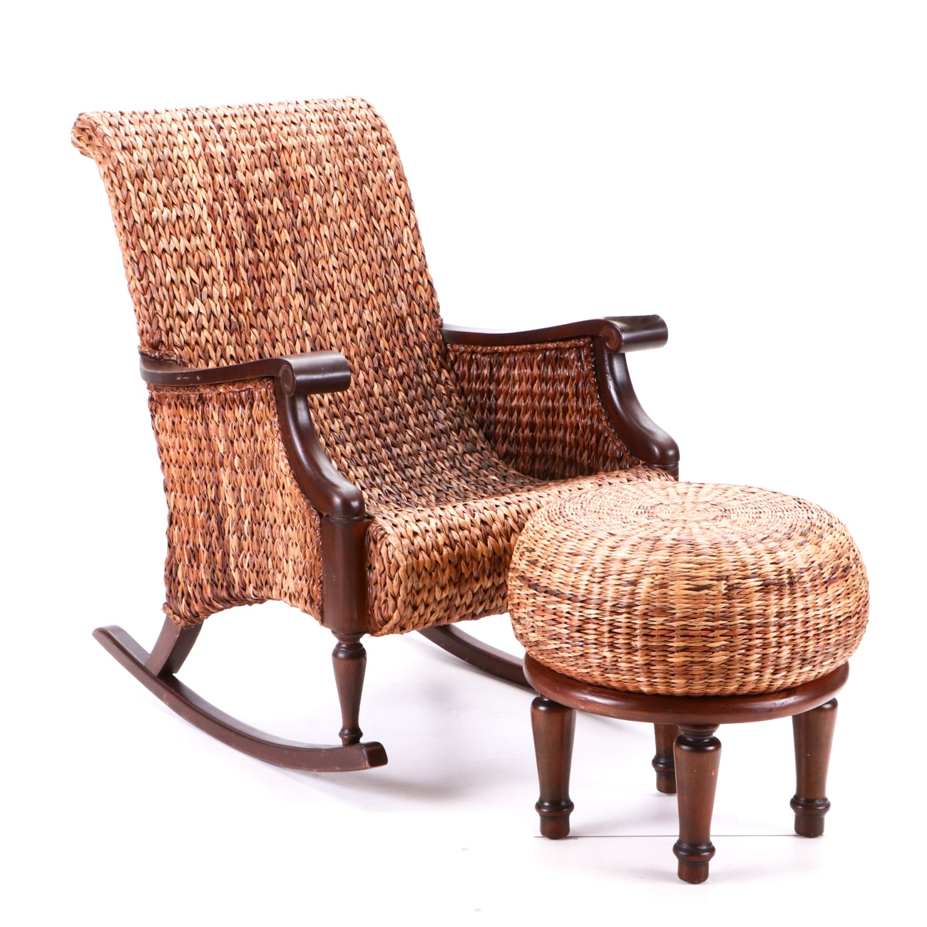Woven Water Hyacinth Rocking Chair and Bauer International Rattan Foot Stool