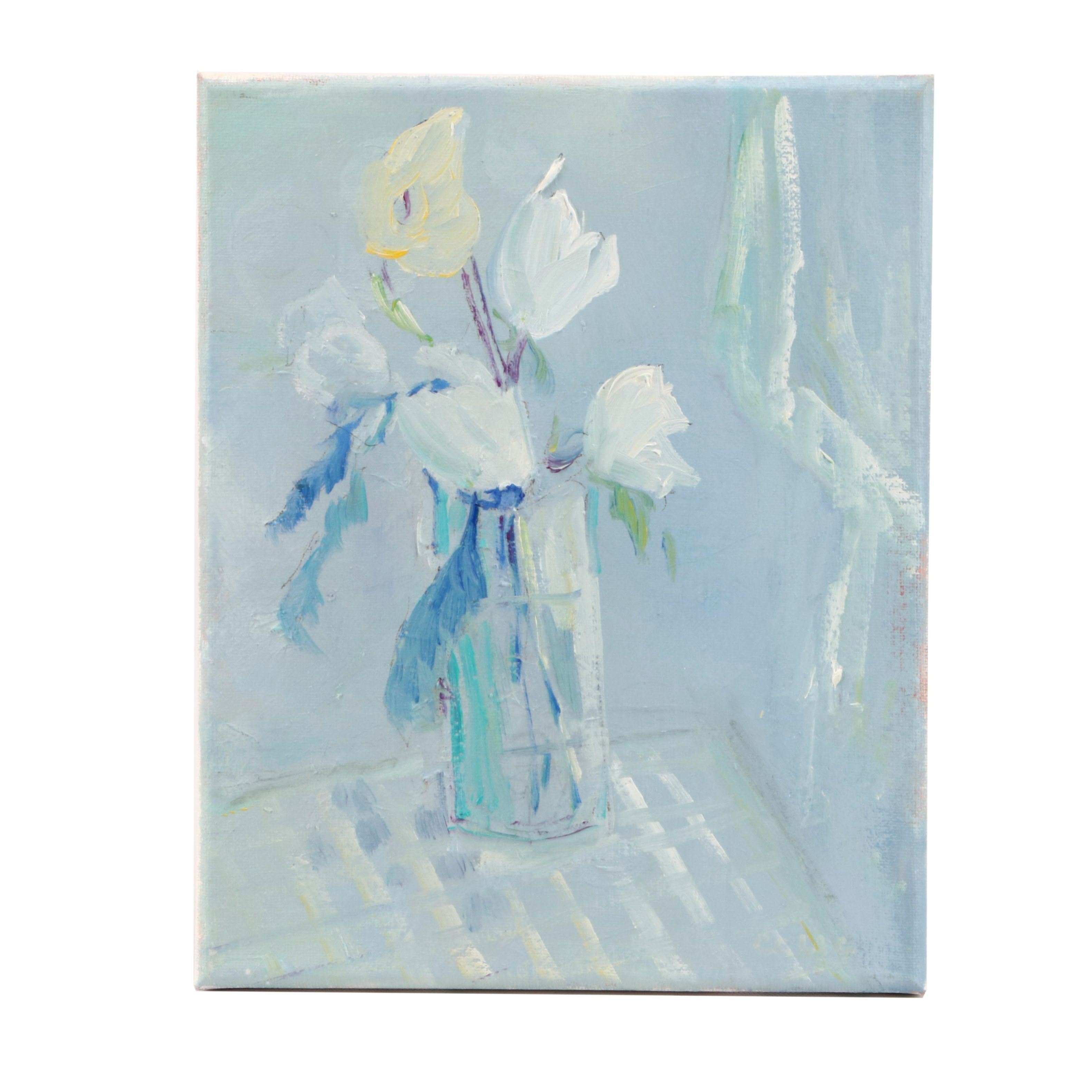 """CCLLC Floral Still Life Oil Painting """"Flowers in Blue"""""""