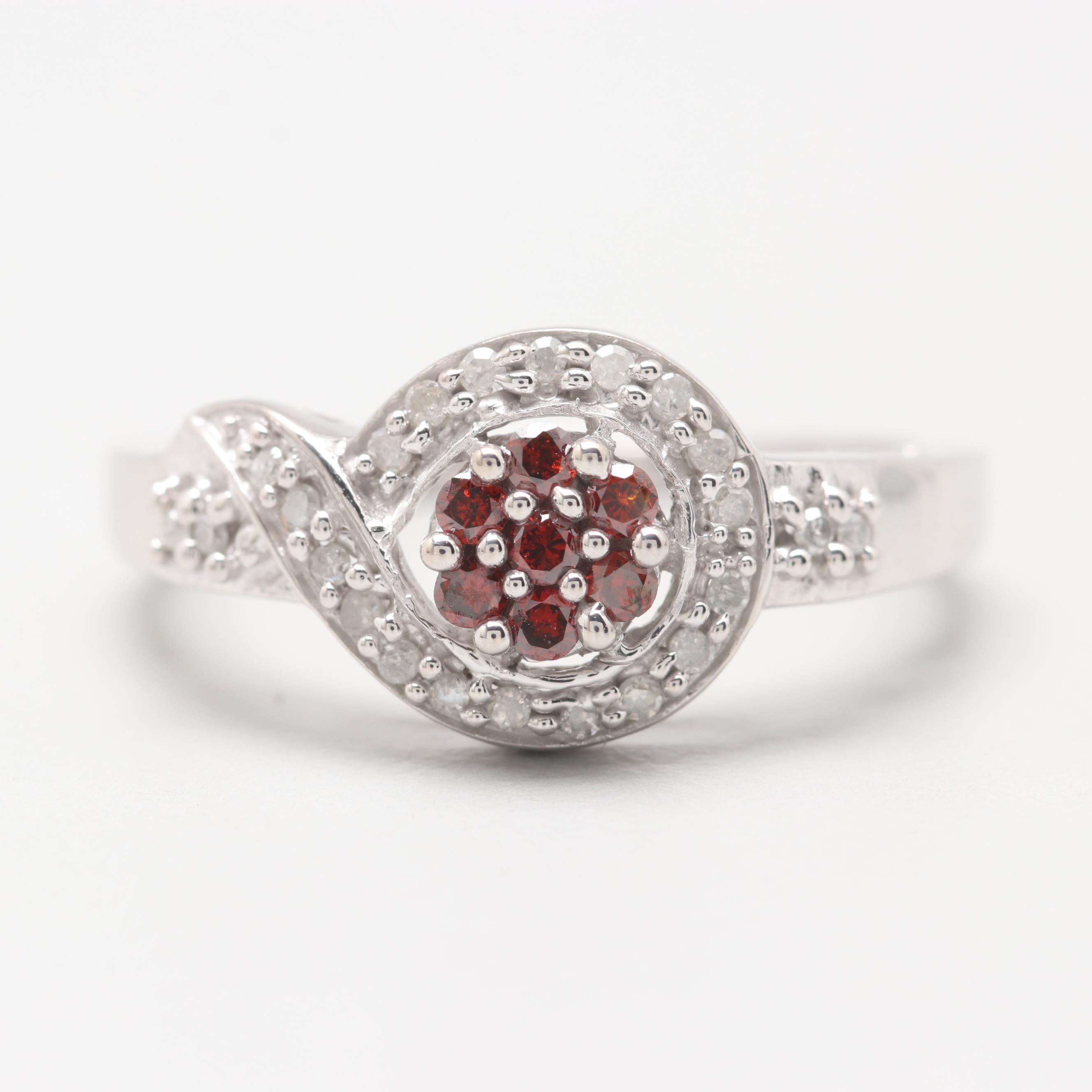 10K White Gold Diamond Ring with Reddish Brown Diamonds