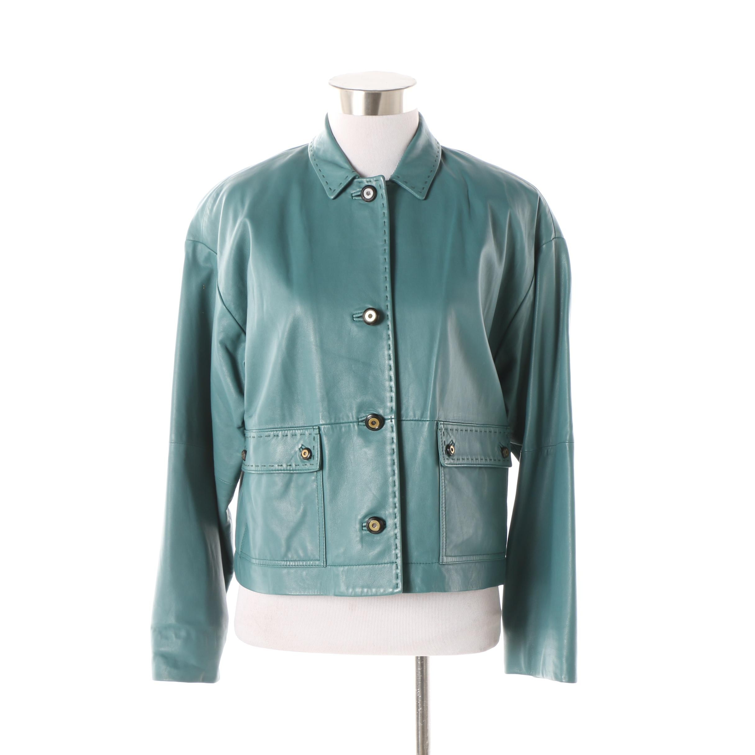 Women's Worth Petite Teal Leather Jacket with Stitched Trim
