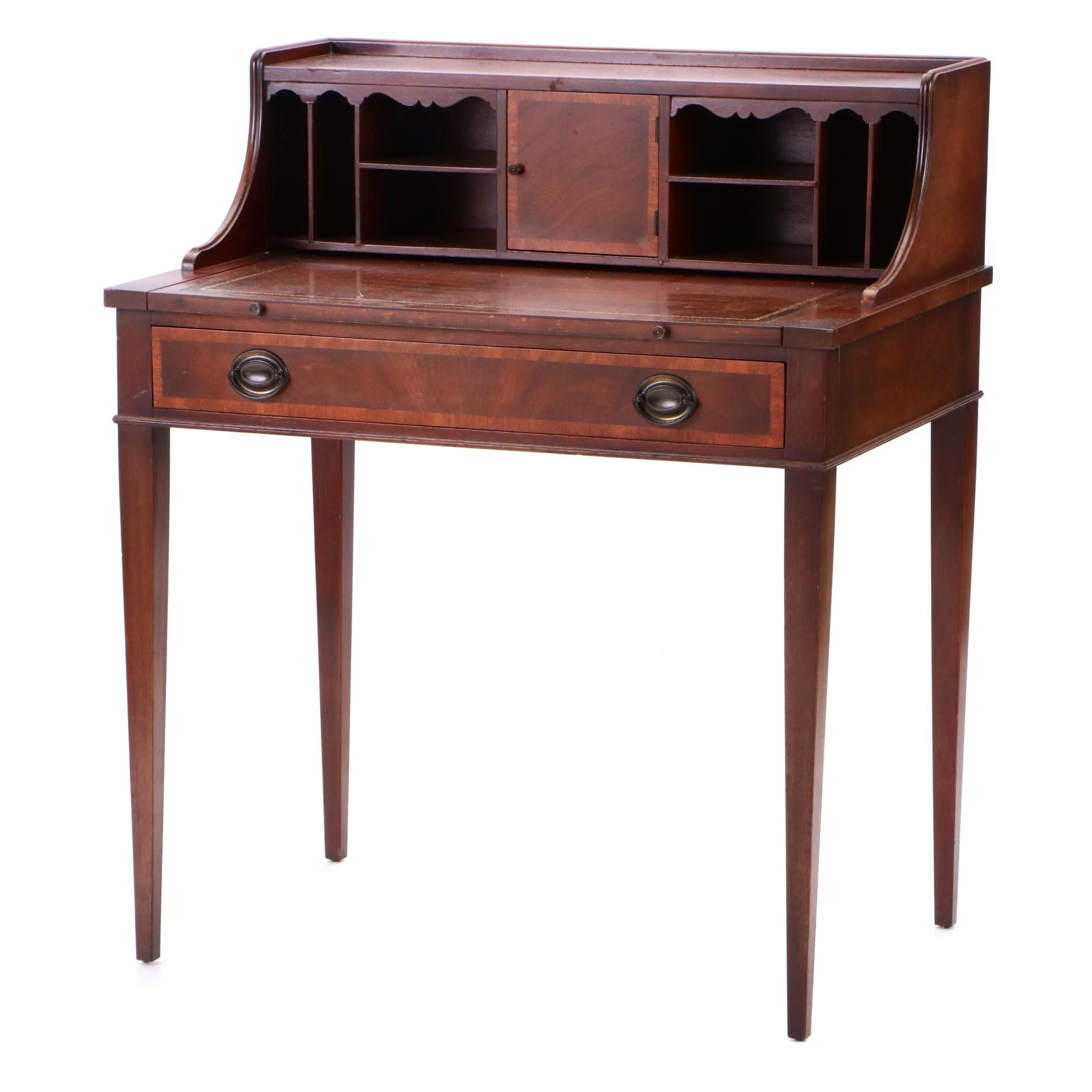 Vintage Sheraton Style Mahogany Finish Writing Desk