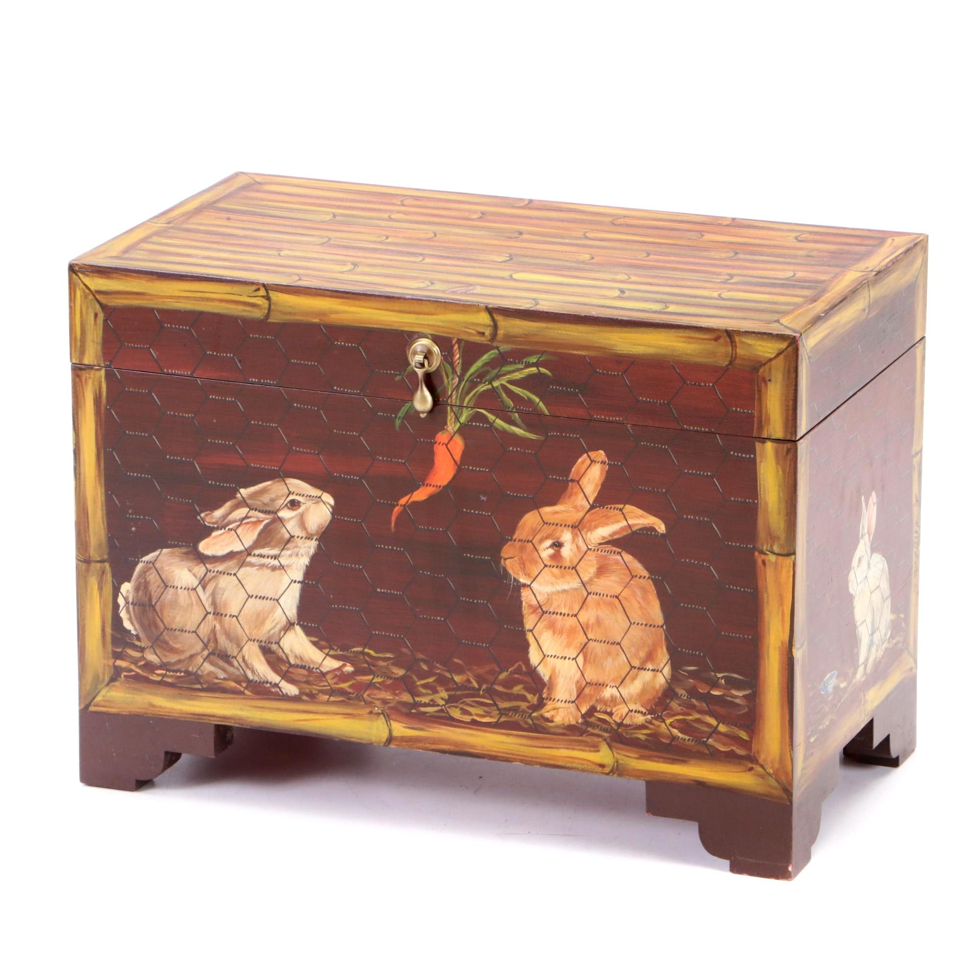 Painted Decorative Box With Rabbits by Don Andres