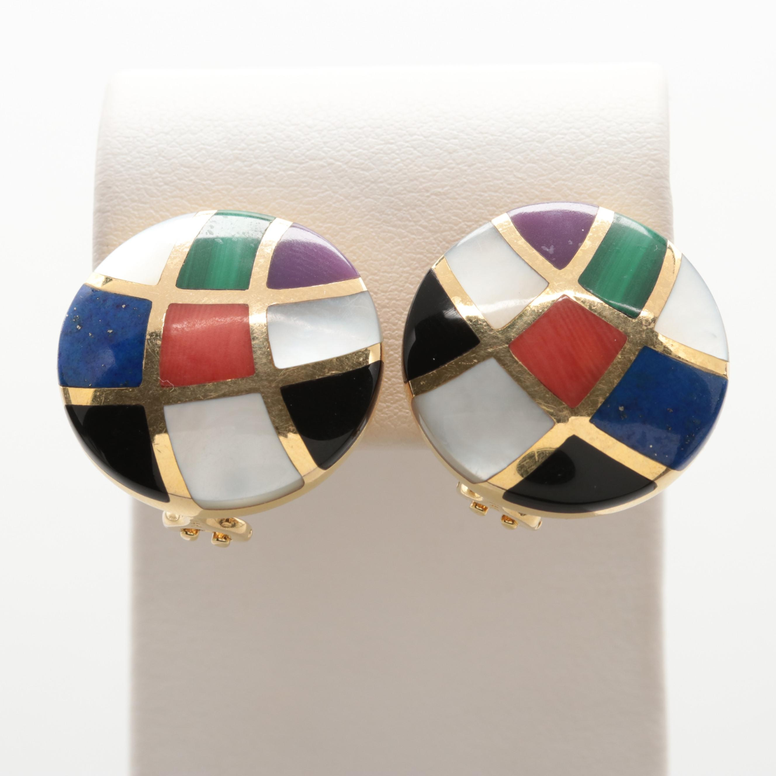 Asch Grossbardt 14K Yellow Gold Inlay Lapis Lazuli, Black Onyx Clip on Earrings