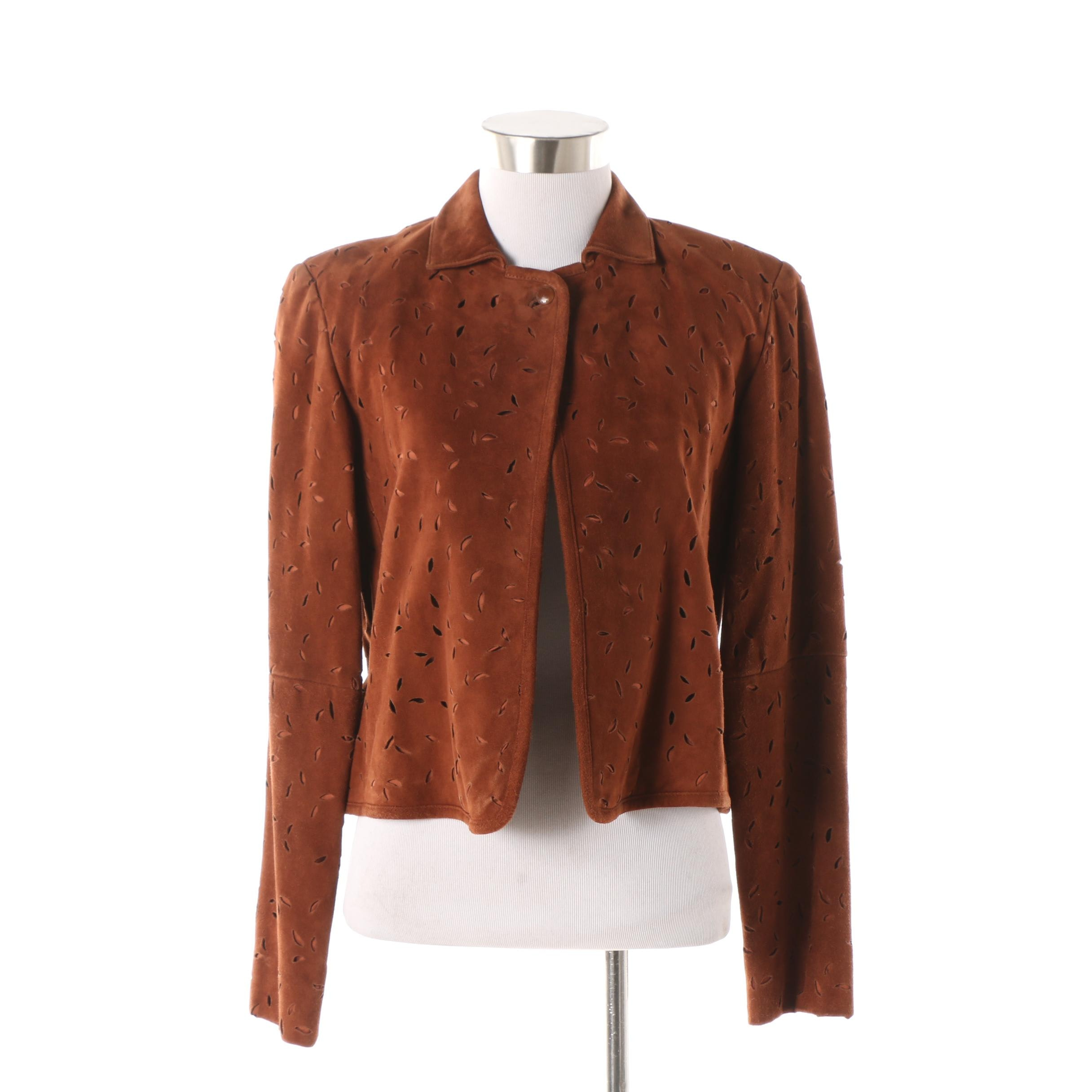 Women's Worth Brown Suede Laser Cut Jacket