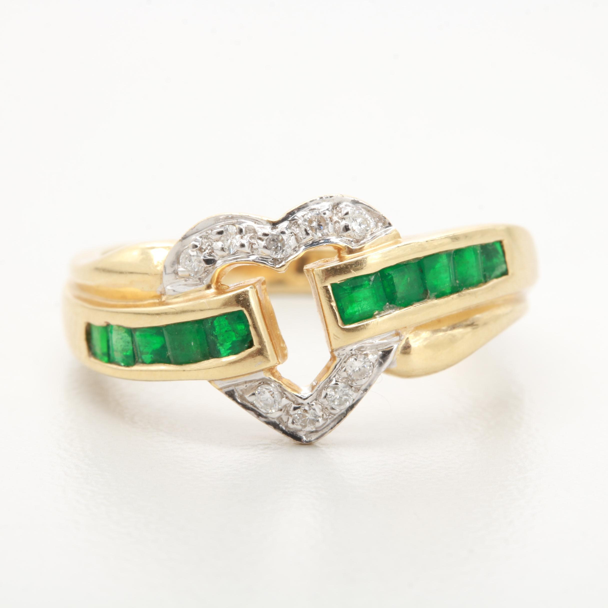 14K Yellow Gold Emerald and Dimaond Heart Motif Ring