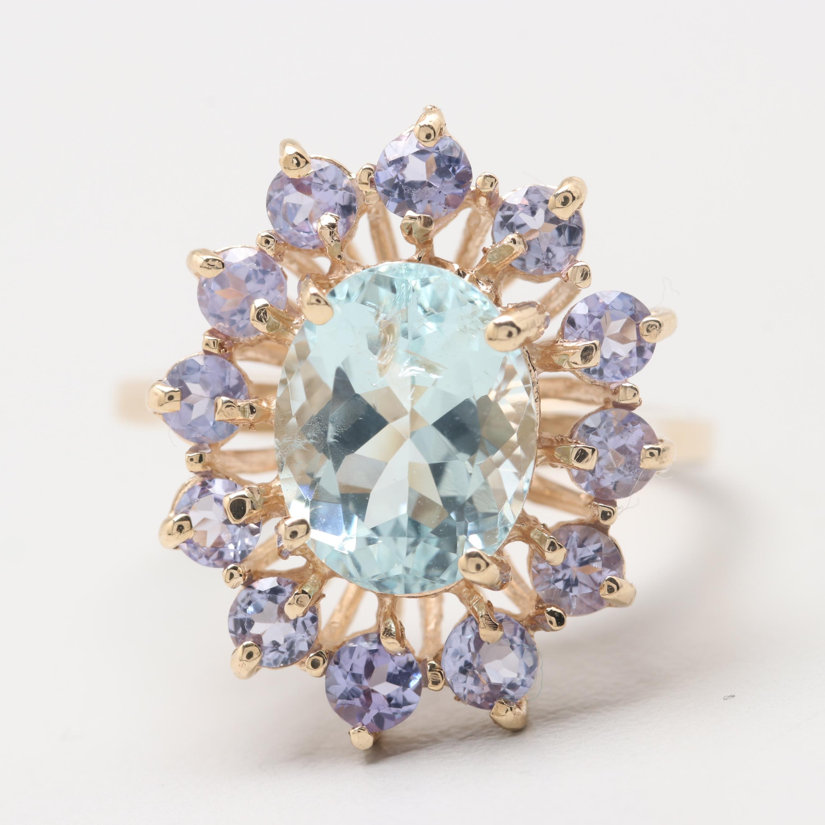10K Yellow Gold Aquamarine and Tanzanite Ring