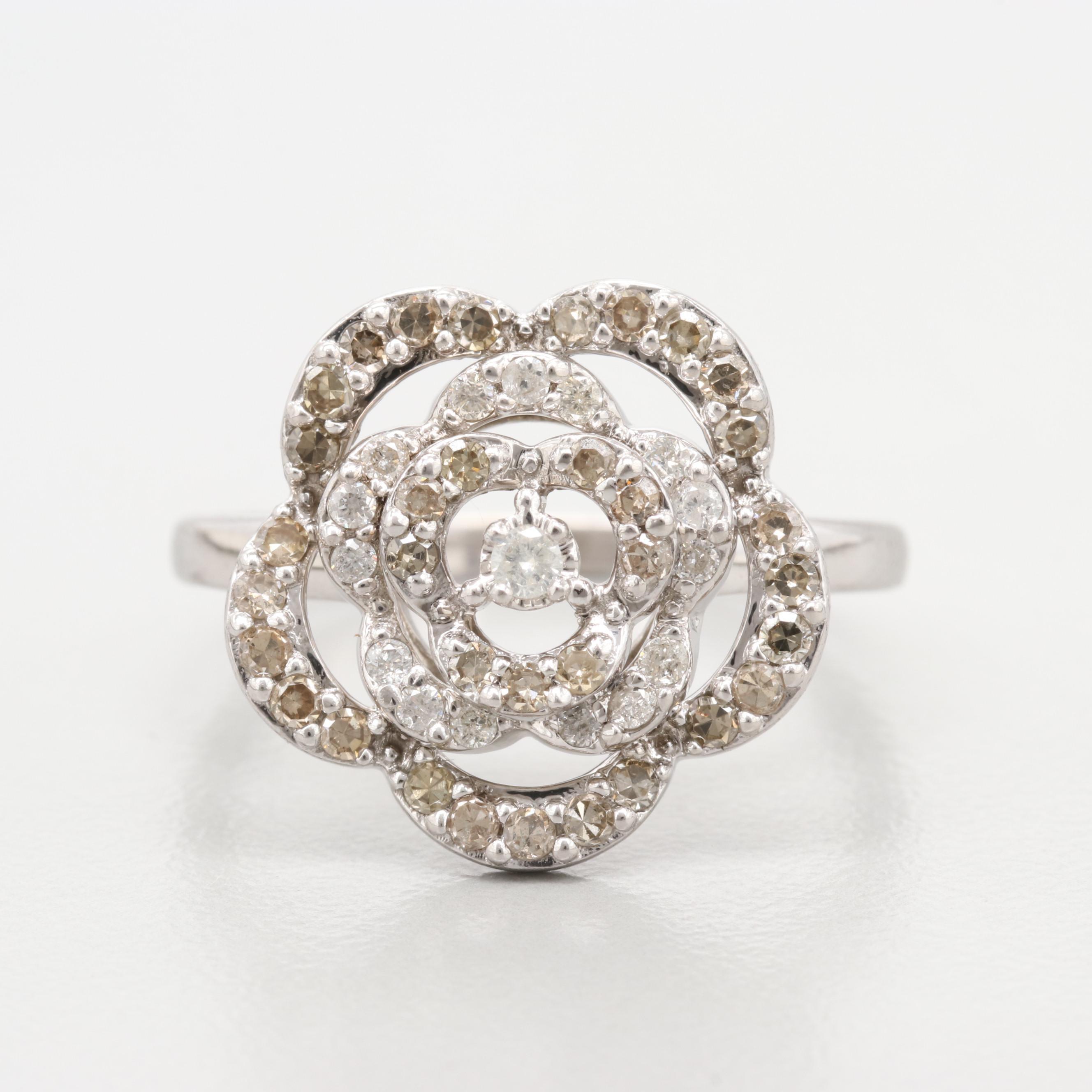 14K White Gold Diamond Flower and Heart Ring
