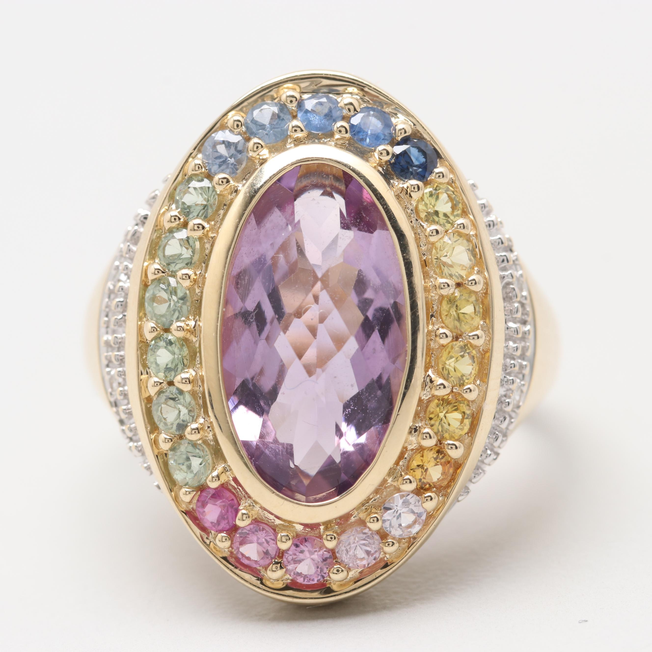 14K Yellow Gold Amethyst, Multi Color Sapphire and Diamond Ring