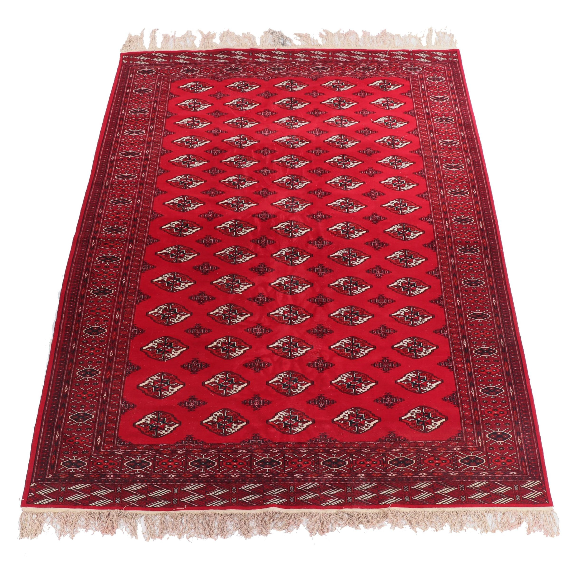 Hand-Knotted Turkmen Bokhara Wool Rug