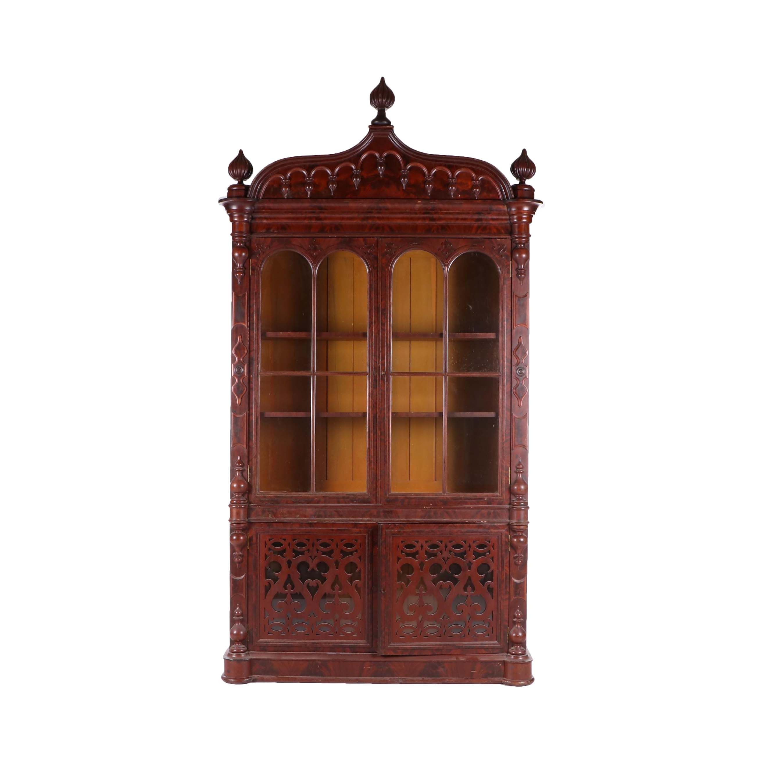 Victorian Gothic Revival Mahogany Display Cabinet, 19th Century