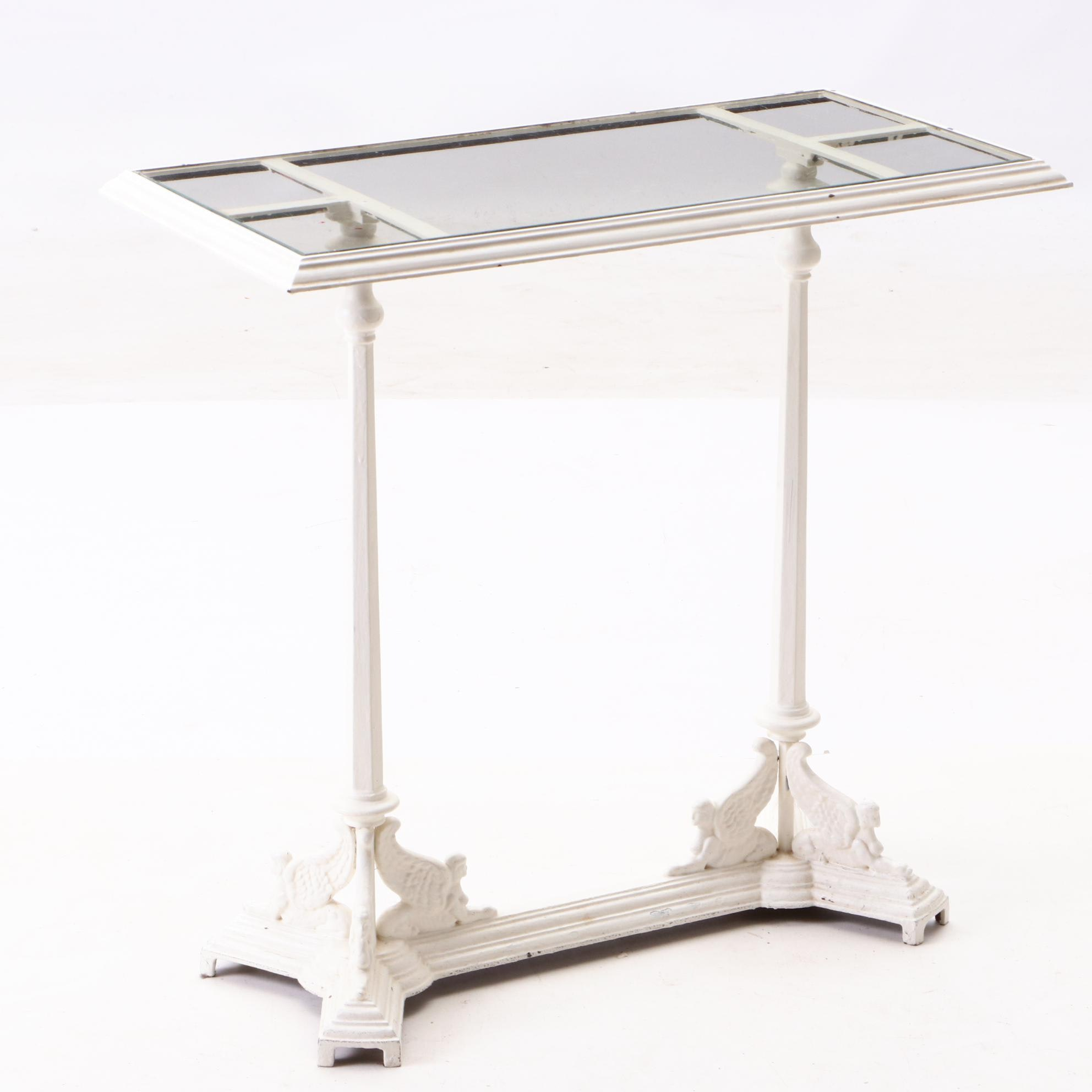 French Empire Style Painted Cast Iron Occasional Table, Mid-20th Century