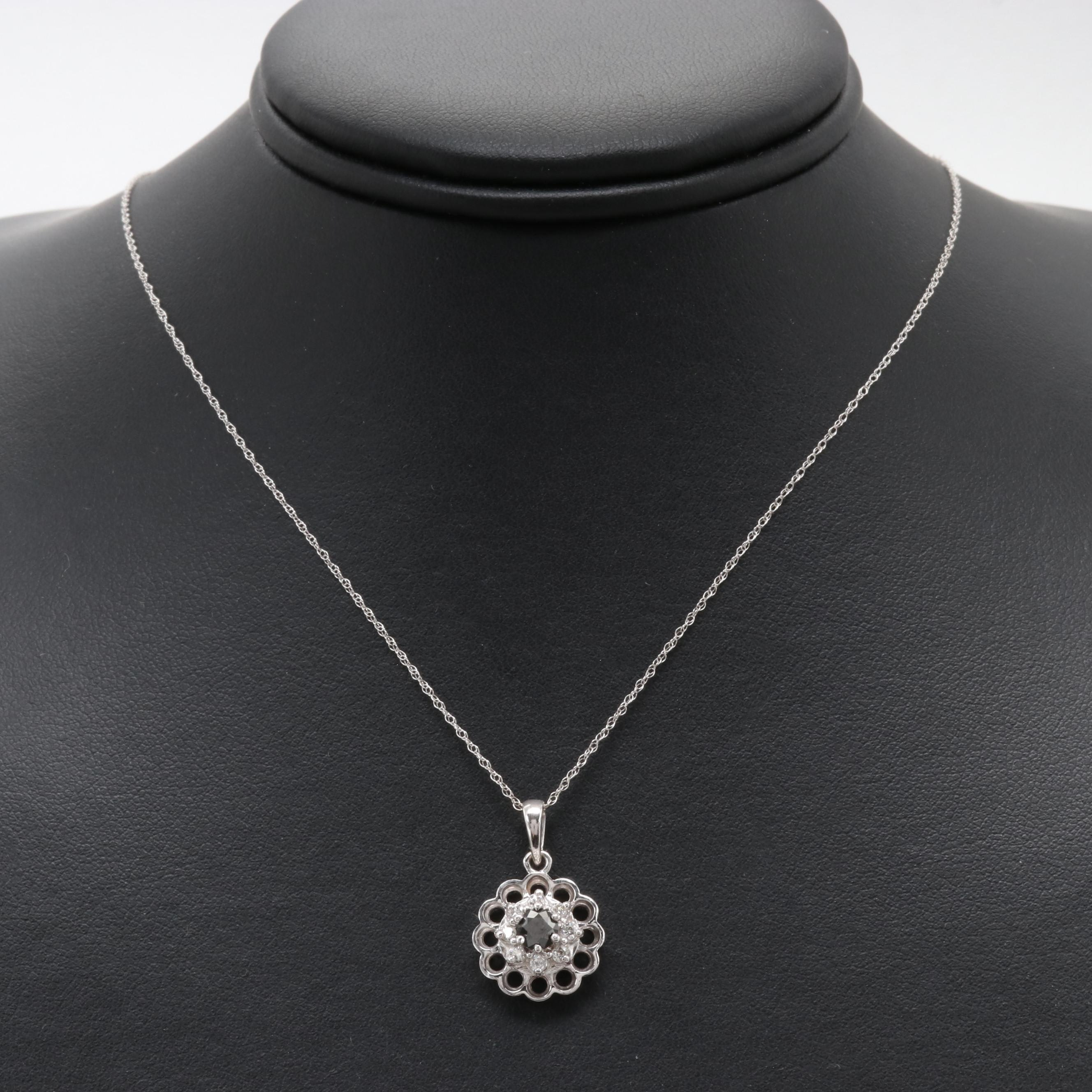 14K White Gold Diamond Necklace Featuring Black Diamond