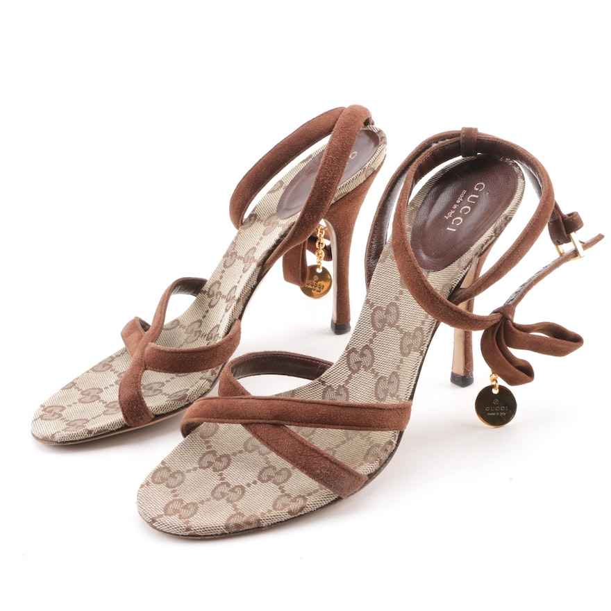 6a752771071 Gucci Brown Suede and GG Monogram Strappy High-Heeled Sandals   EBTH