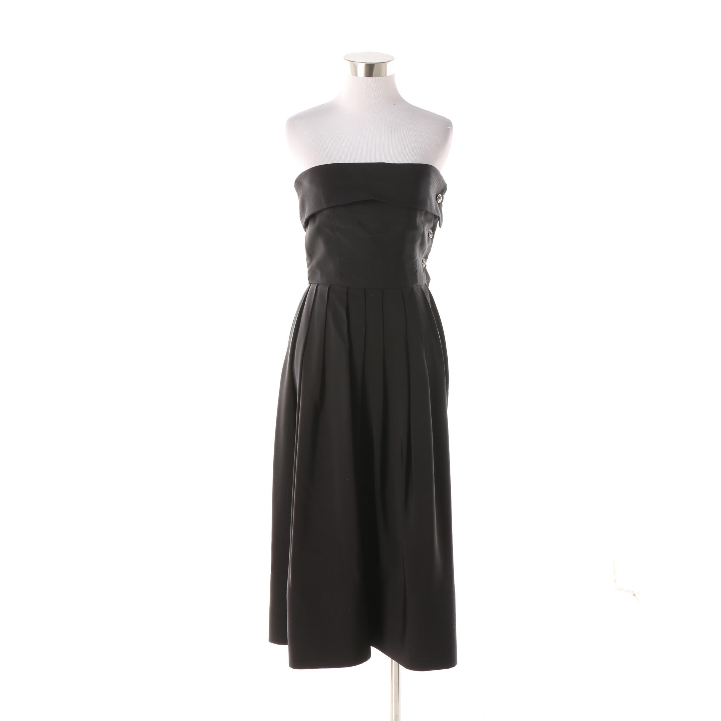 Circa 1980s Vintage Morton Myles for the Warrens Black Strapless Cocktail Dress