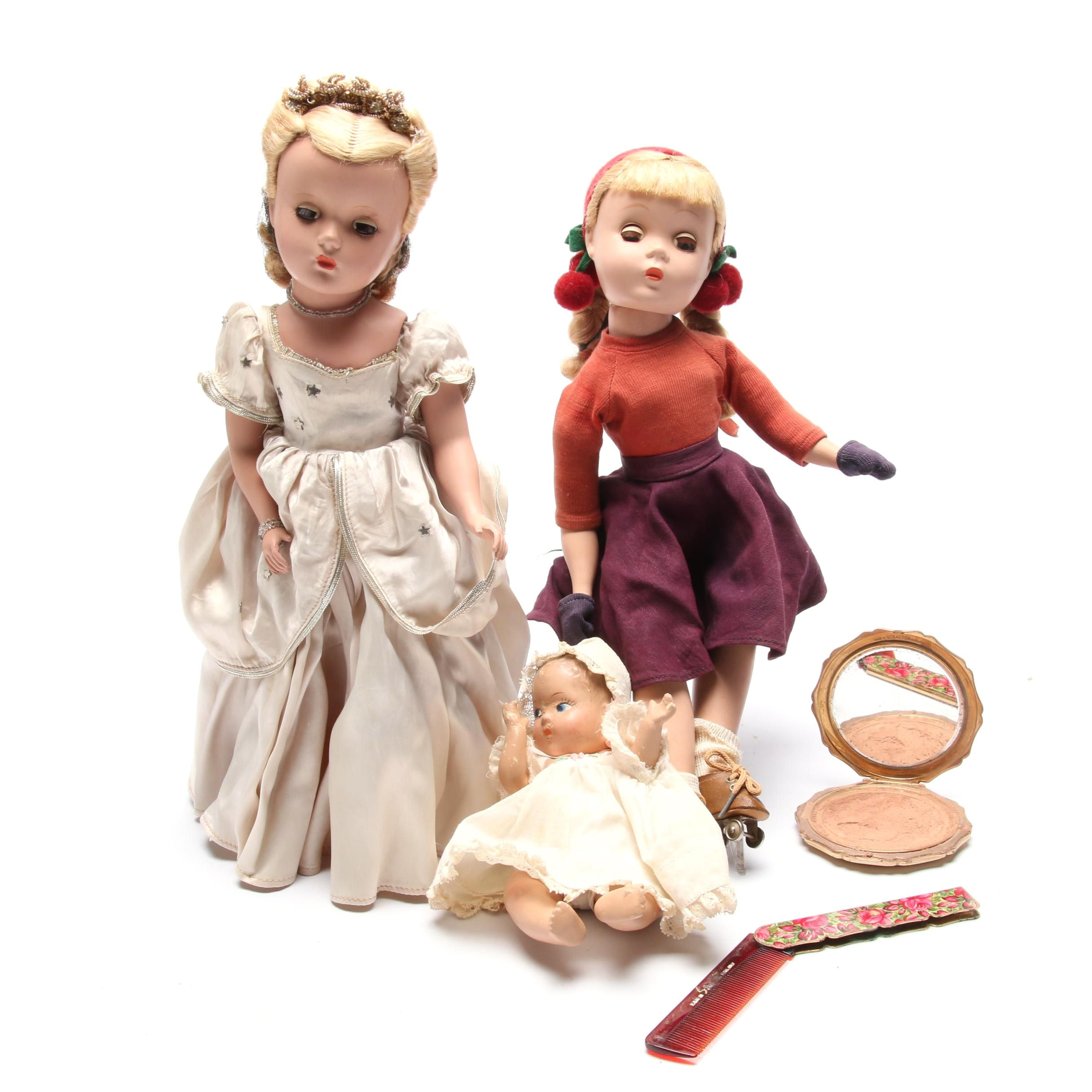 "Madame Alexander Dolls Including ""Kathy Skater Doll"" with Compact and Comb Set"