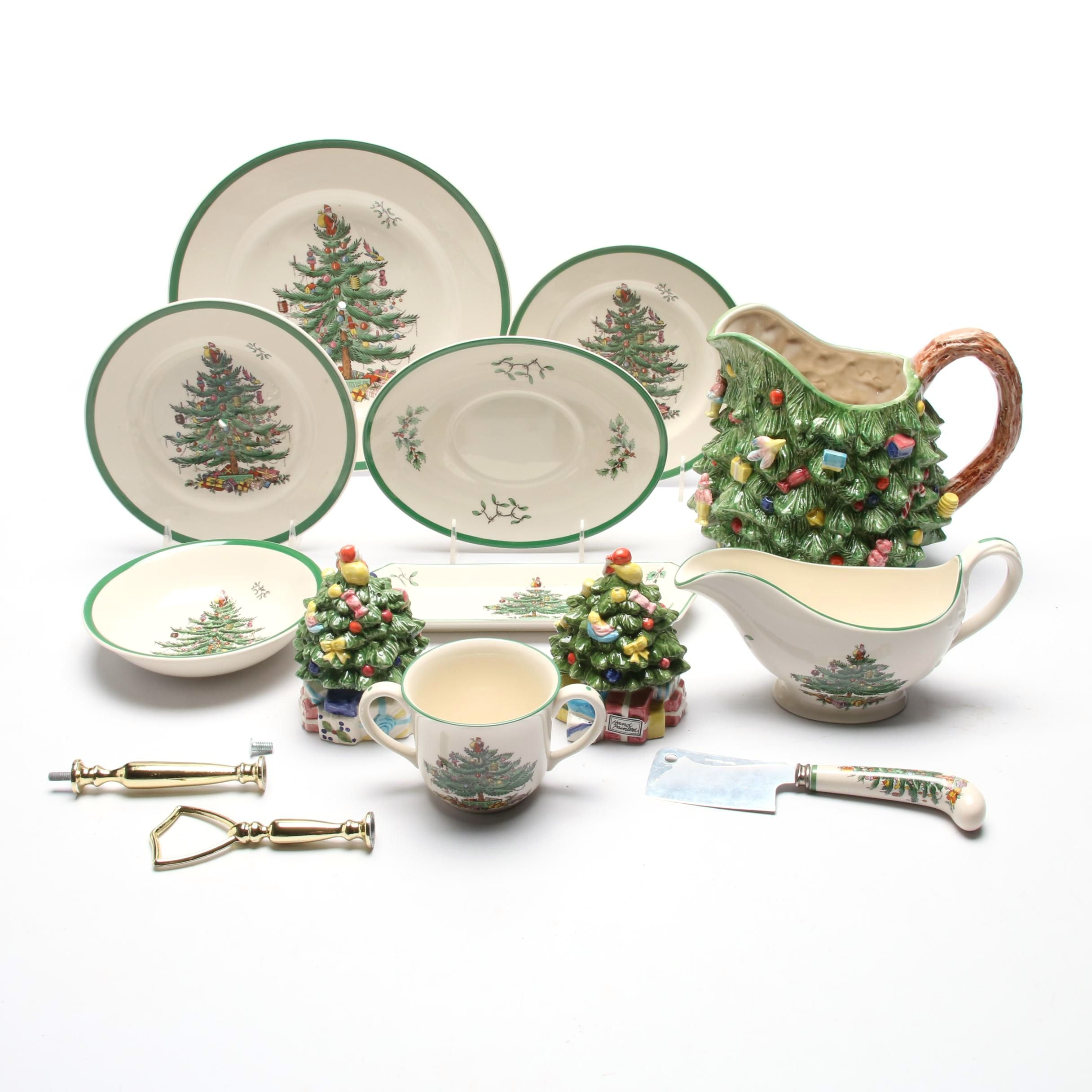 "Spode ""Christmas Tree"" Tableware with Royal China Water Pitcher"