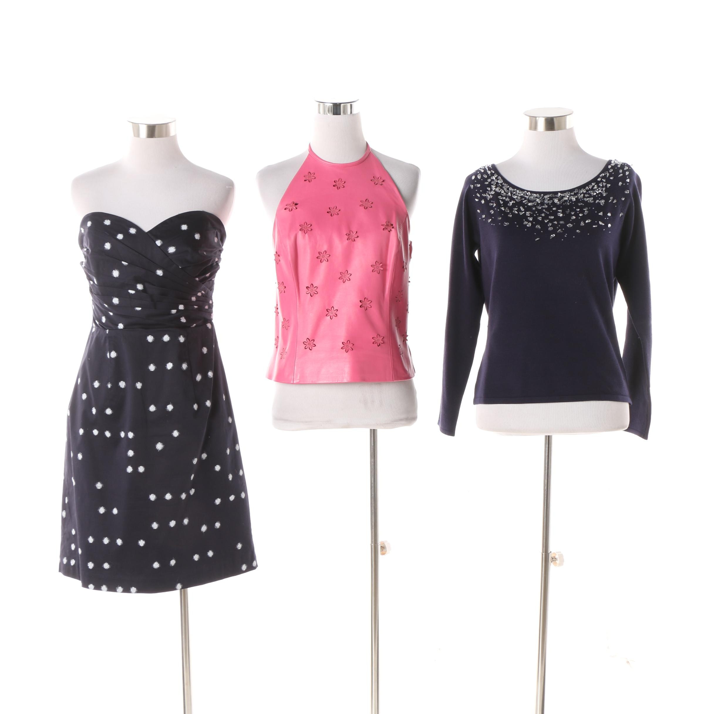 Worth Pink Leather Halter and Beaded Sweater with H&M Polka Dot Strapless Dress